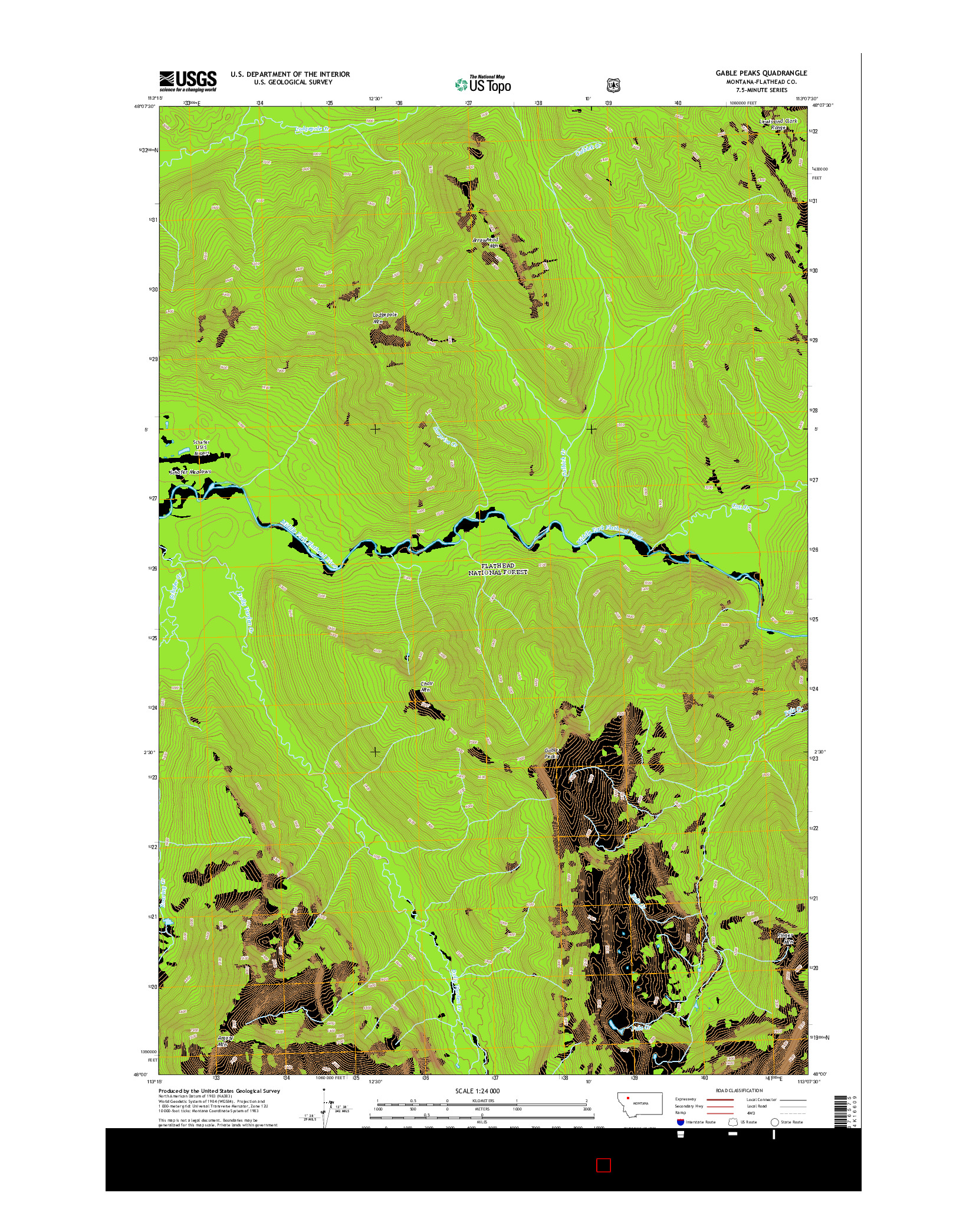 USGS US TOPO 7.5-MINUTE MAP FOR GABLE PEAKS, MT 2014
