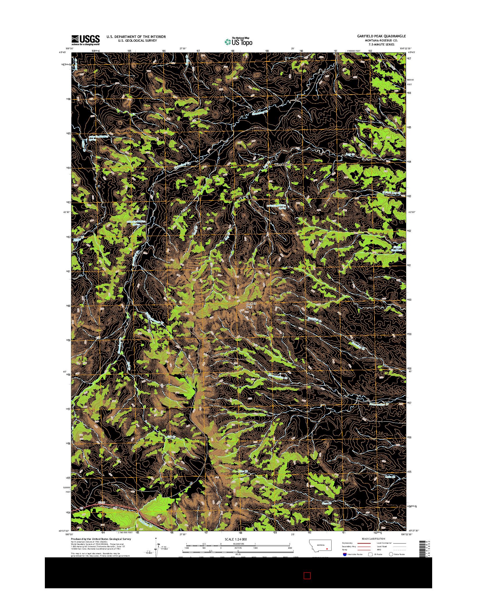 USGS US TOPO 7.5-MINUTE MAP FOR GARFIELD PEAK, MT 2014