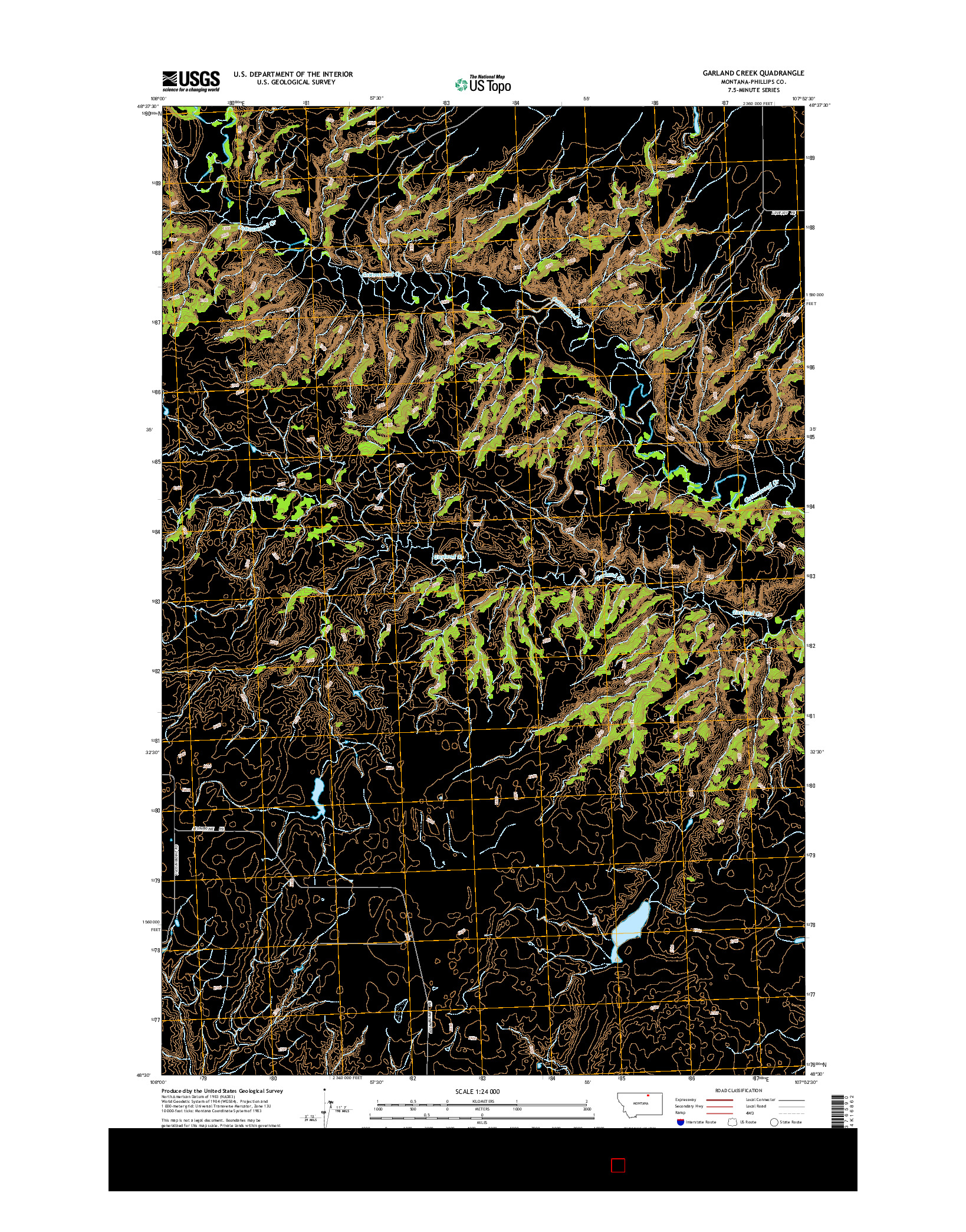 USGS US TOPO 7.5-MINUTE MAP FOR GARLAND CREEK, MT 2014