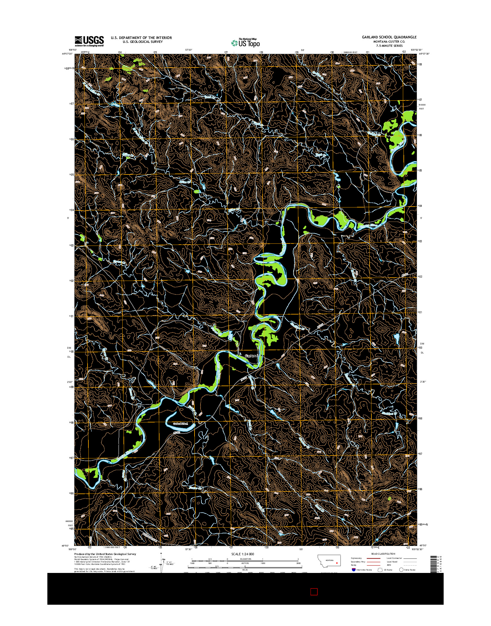 USGS US TOPO 7.5-MINUTE MAP FOR GARLAND SCHOOL, MT 2014