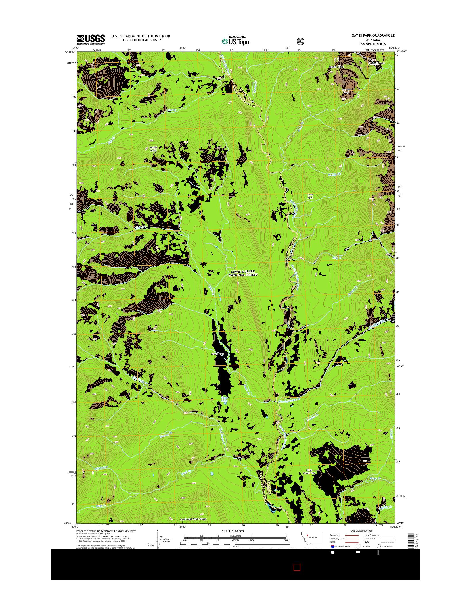 USGS US TOPO 7.5-MINUTE MAP FOR GATES PARK, MT 2014
