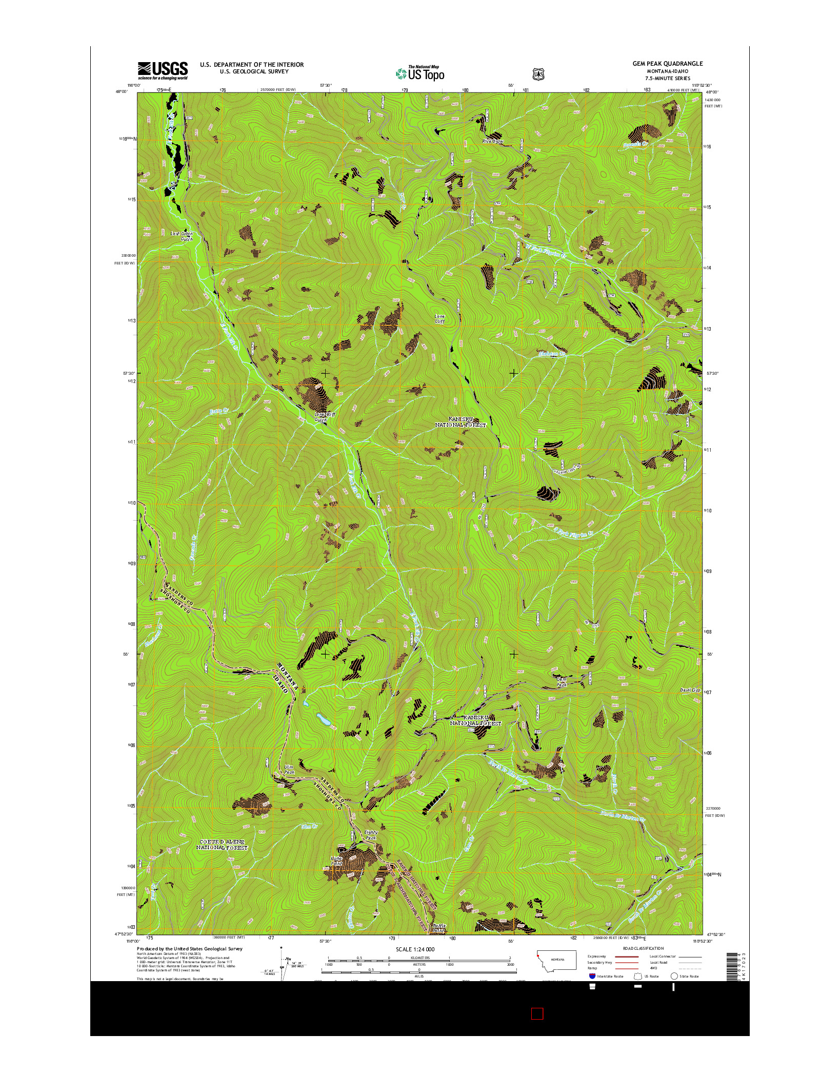 USGS US TOPO 7.5-MINUTE MAP FOR GEM PEAK, MT-ID 2014