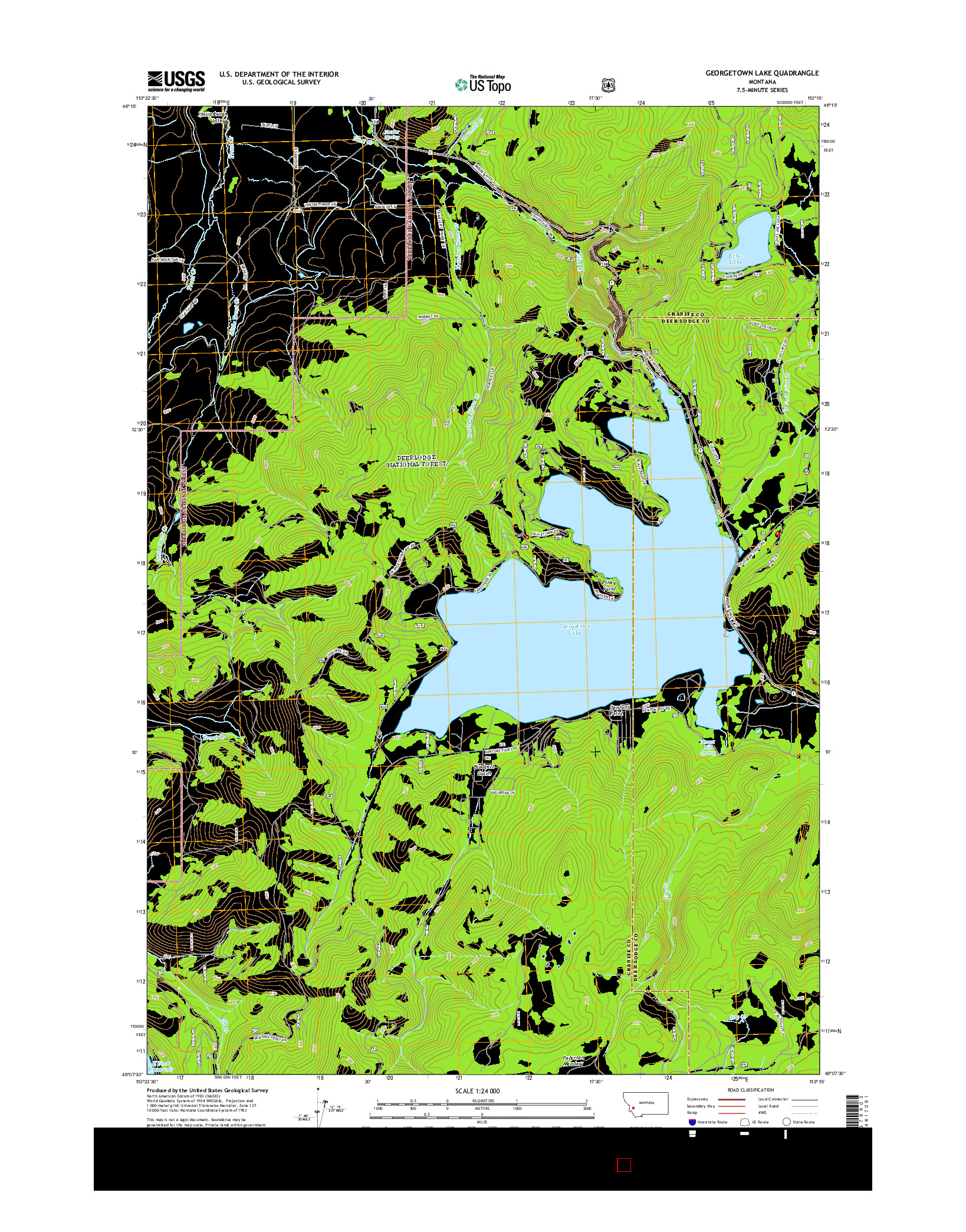 USGS US TOPO 7.5-MINUTE MAP FOR GEORGETOWN LAKE, MT 2014