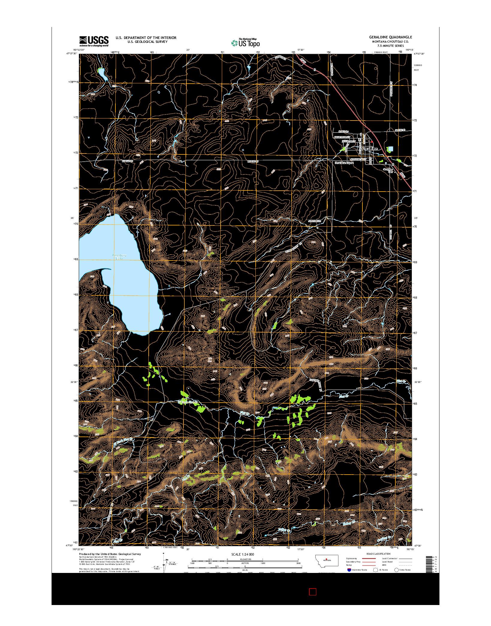 USGS US TOPO 7.5-MINUTE MAP FOR GERALDINE, MT 2014
