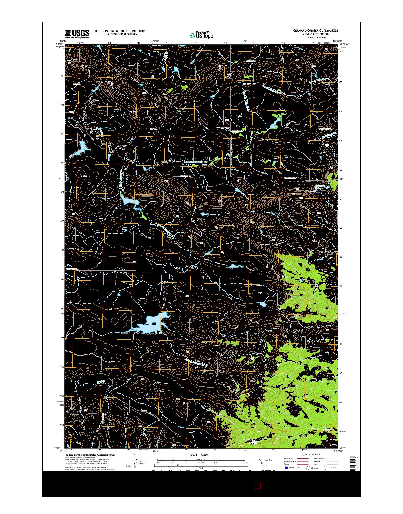 USGS US TOPO 7.5-MINUTE MAP FOR GERHARD CORNER, MT 2014