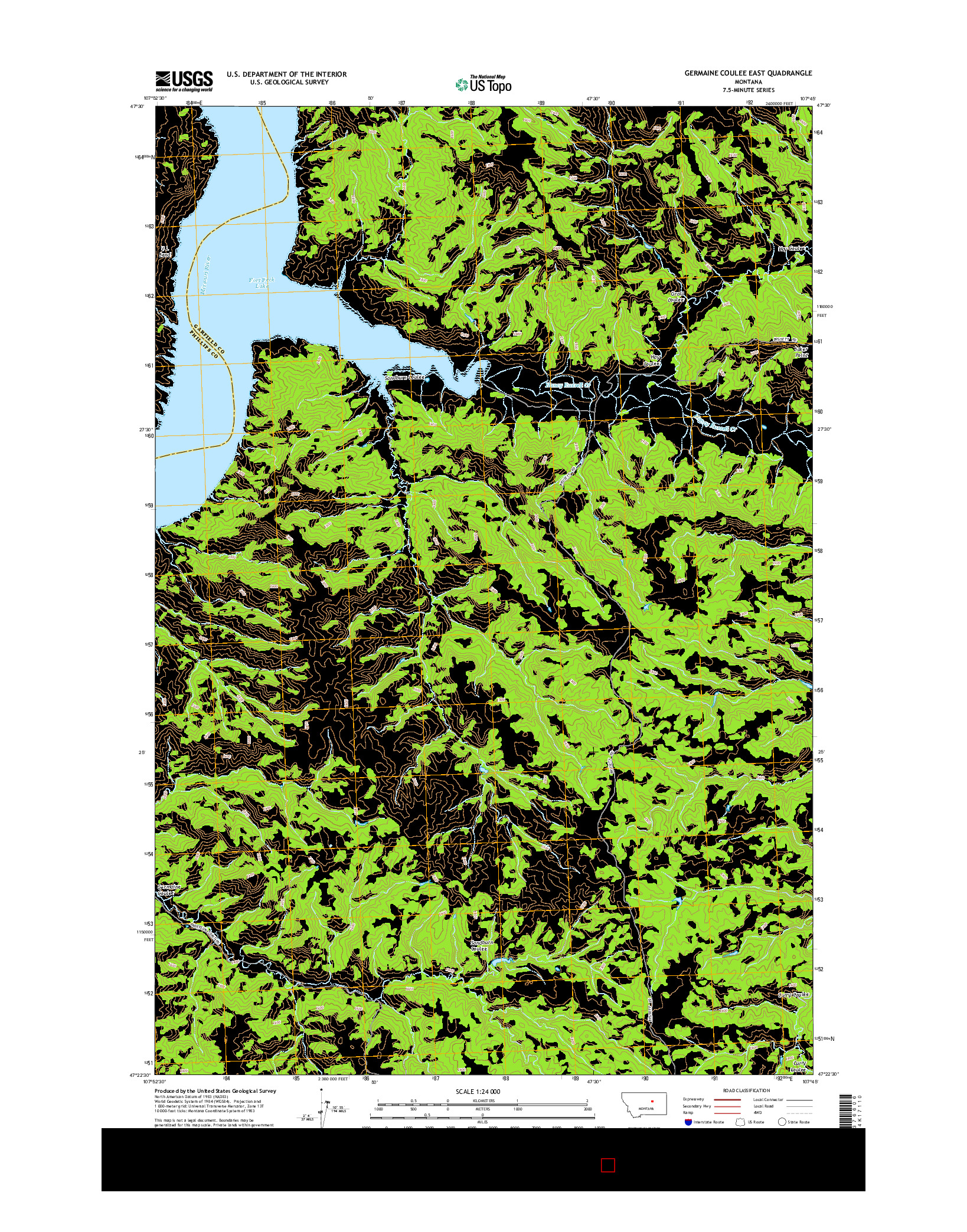USGS US TOPO 7.5-MINUTE MAP FOR GERMAINE COULEE EAST, MT 2014