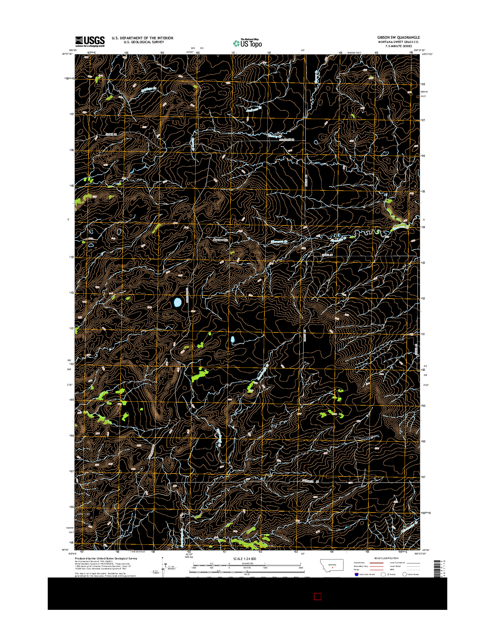 USGS US TOPO 7.5-MINUTE MAP FOR GIBSON SW, MT 2014