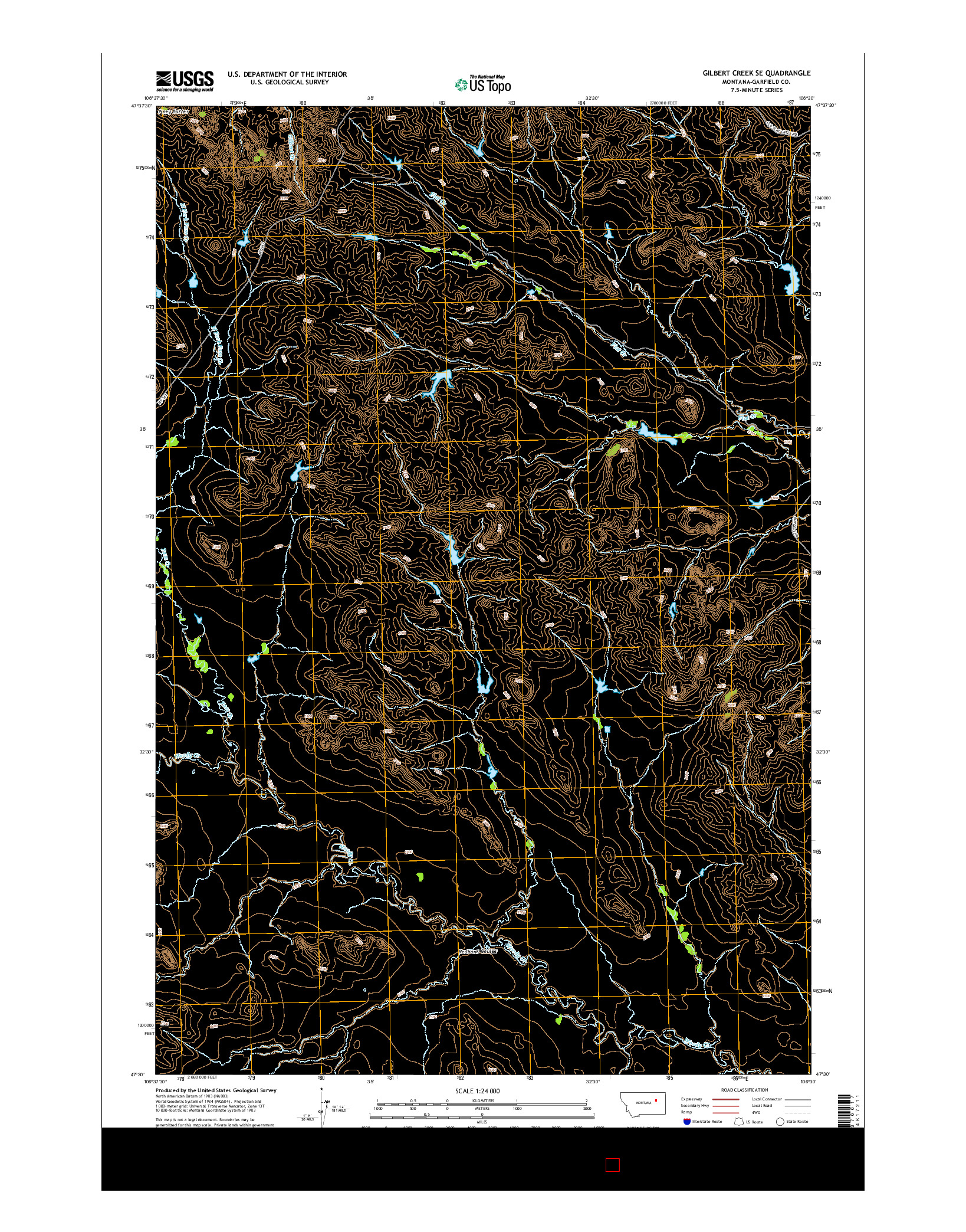 USGS US TOPO 7.5-MINUTE MAP FOR GILBERT CREEK SE, MT 2014
