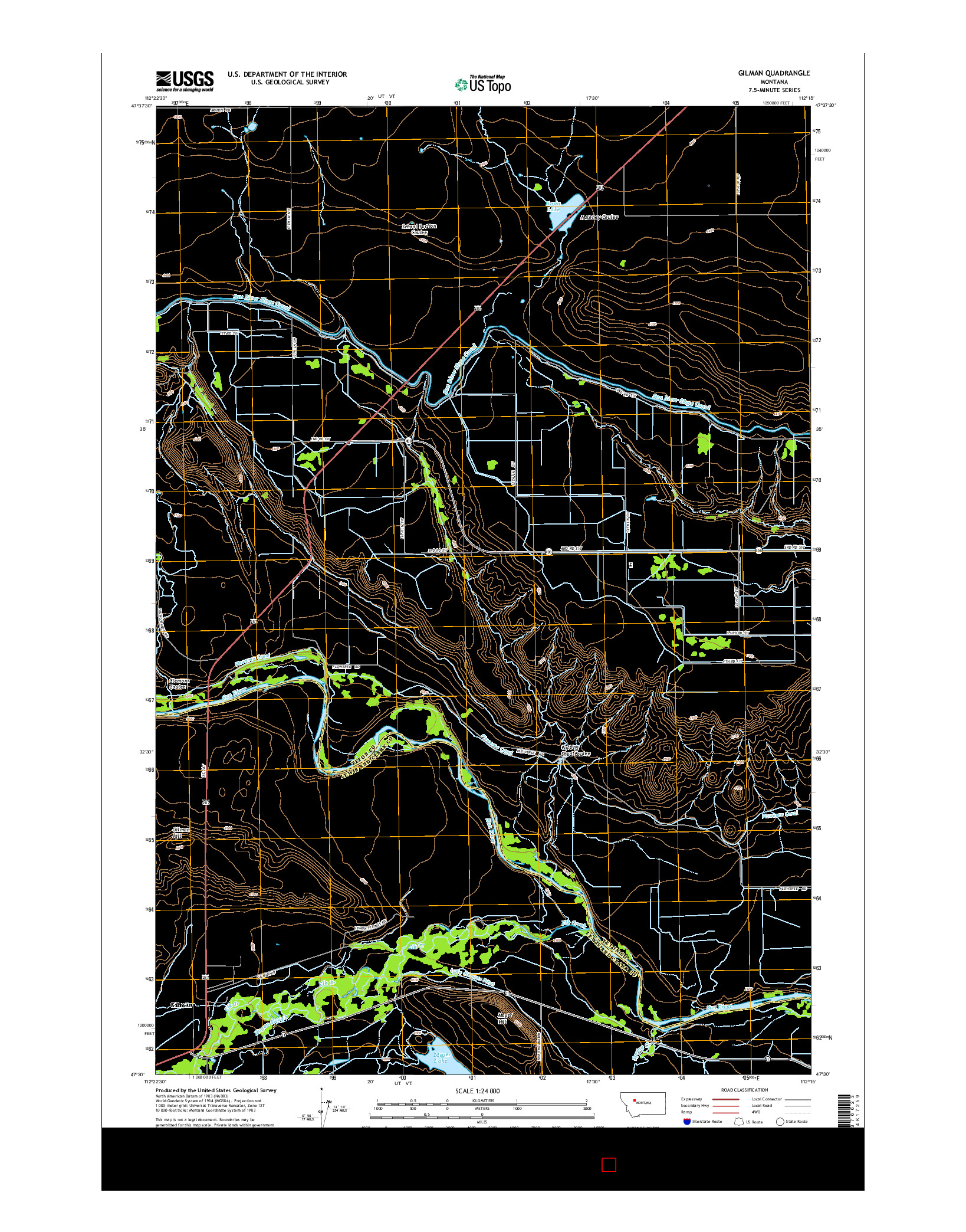 USGS US TOPO 7.5-MINUTE MAP FOR GILMAN, MT 2014