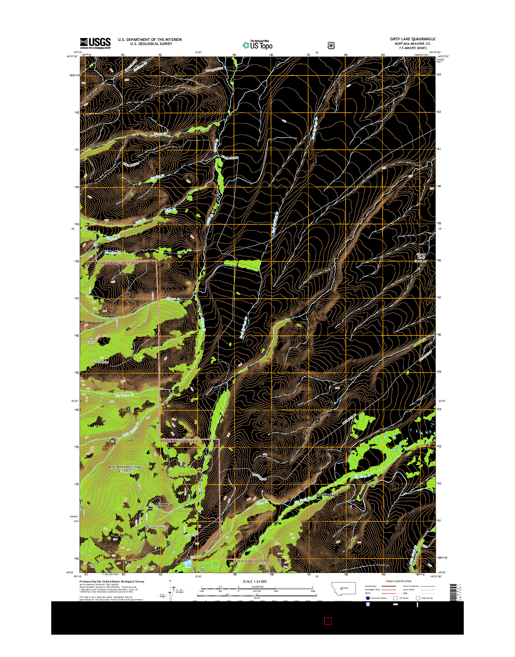USGS US TOPO 7.5-MINUTE MAP FOR GIPSY LAKE, MT 2014
