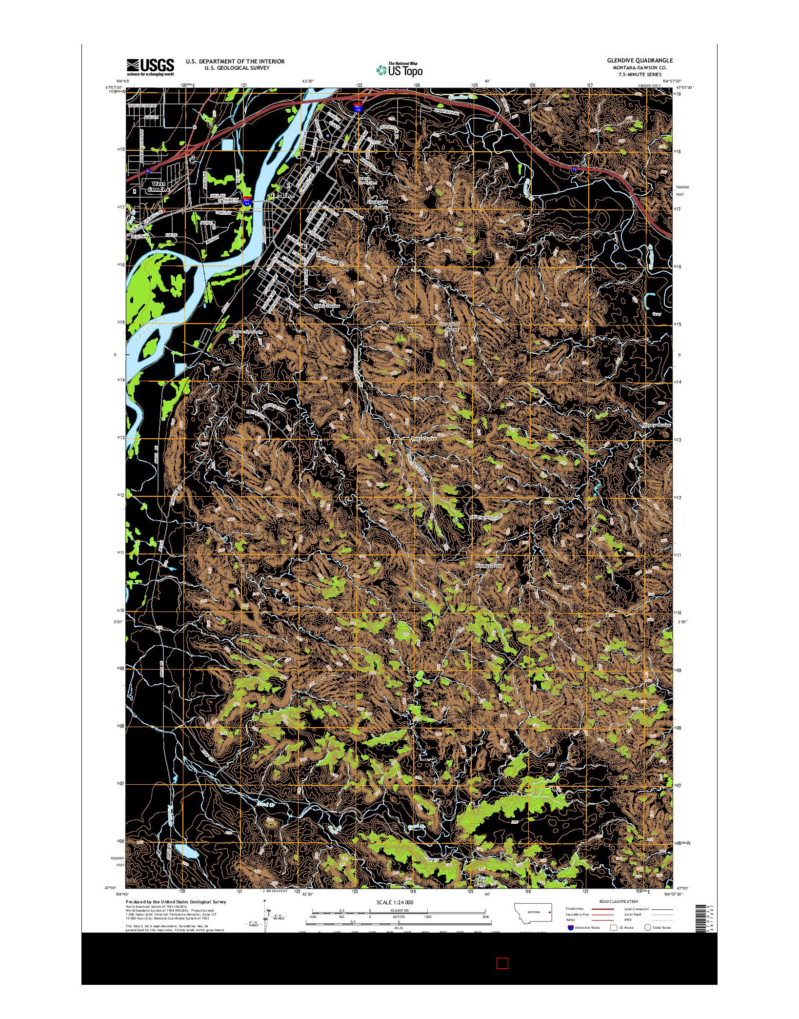 USGS US TOPO 7.5-MINUTE MAP FOR GLENDIVE, MT 2014