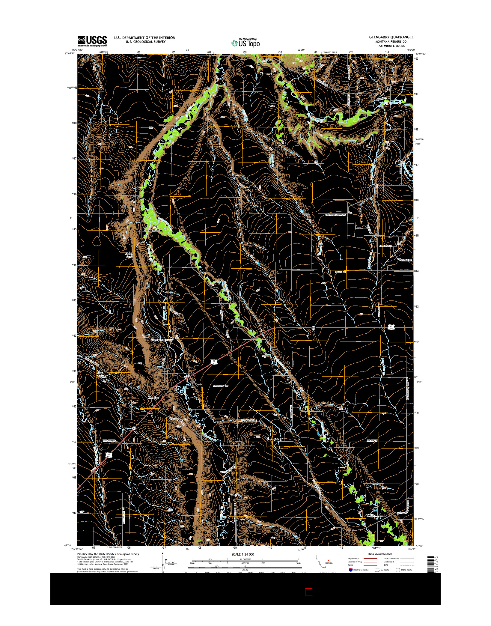 USGS US TOPO 7.5-MINUTE MAP FOR GLENGARRY, MT 2014