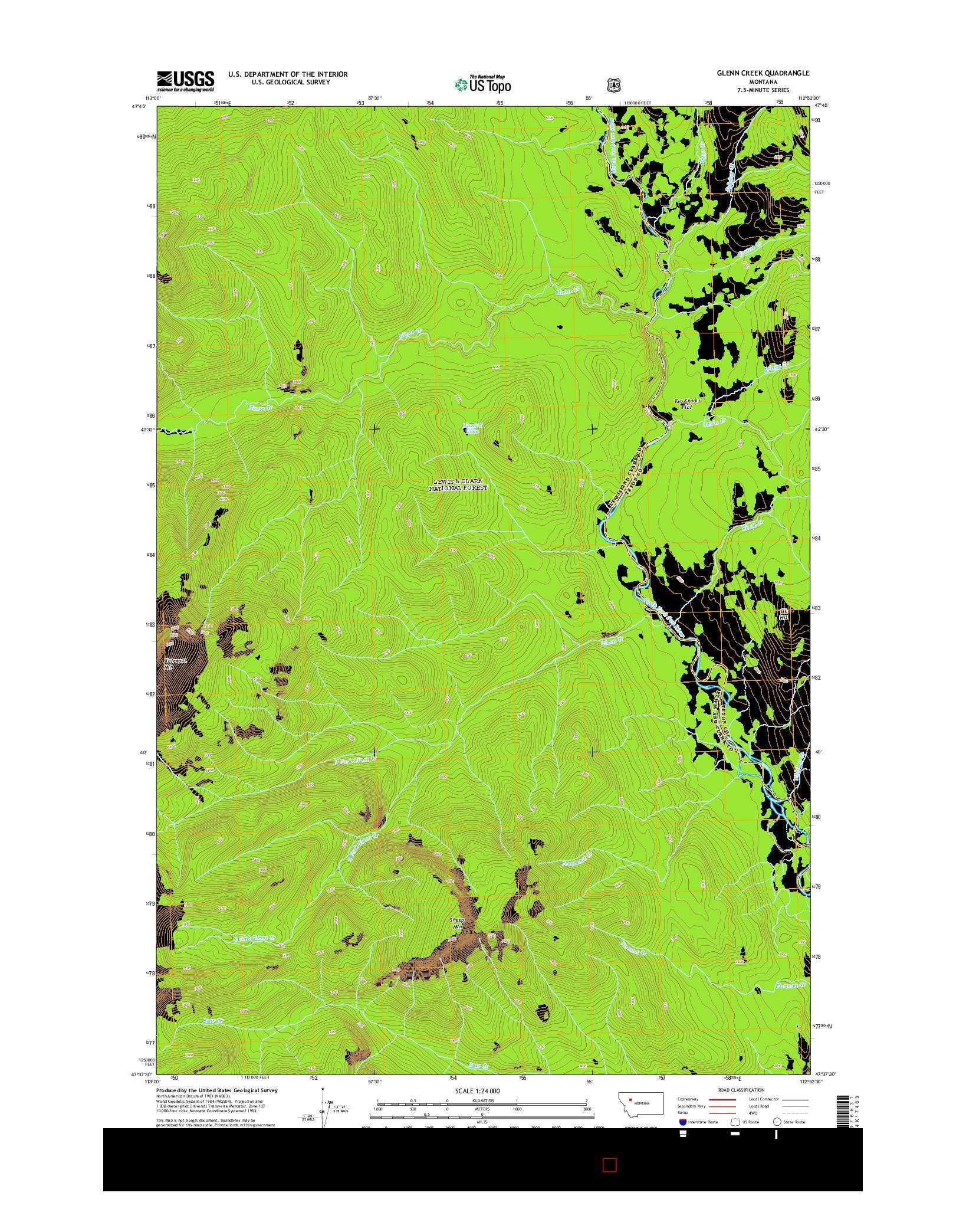 USGS US TOPO 7.5-MINUTE MAP FOR GLENN CREEK, MT 2014