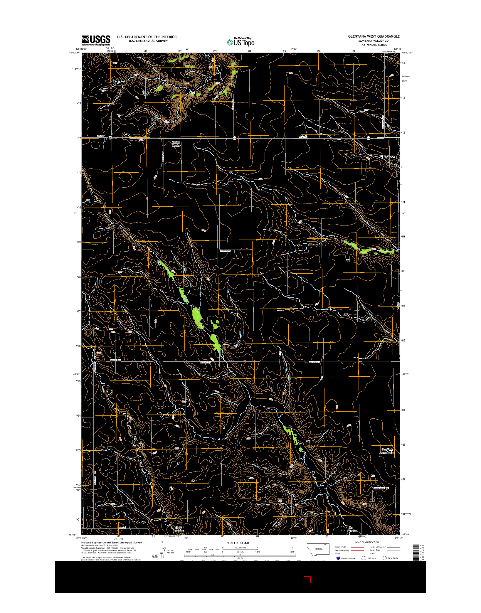 USGS US TOPO 7.5-MINUTE MAP FOR GLENTANA WEST, MT 2014