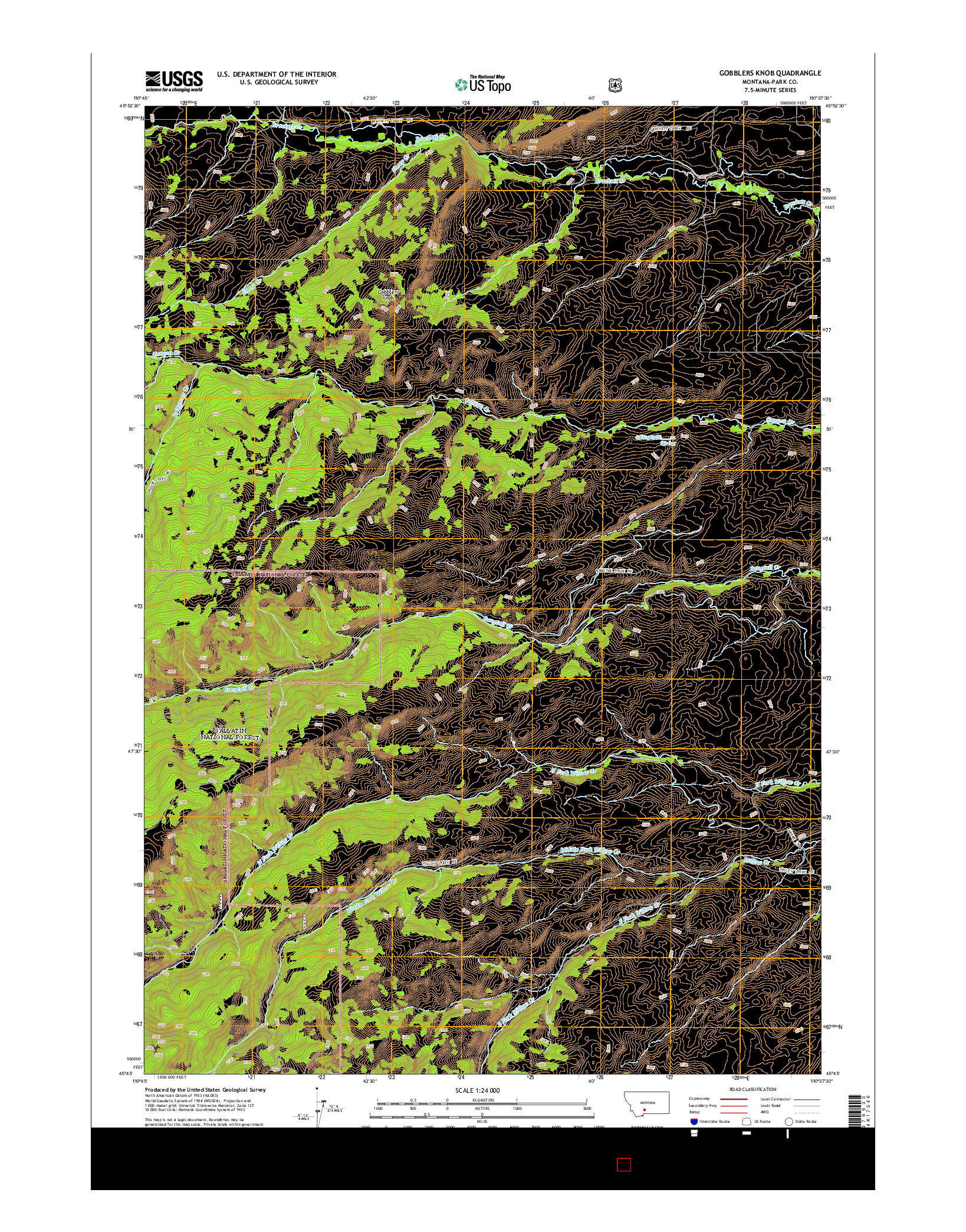 USGS US TOPO 7.5-MINUTE MAP FOR GOBBLERS KNOB, MT 2014