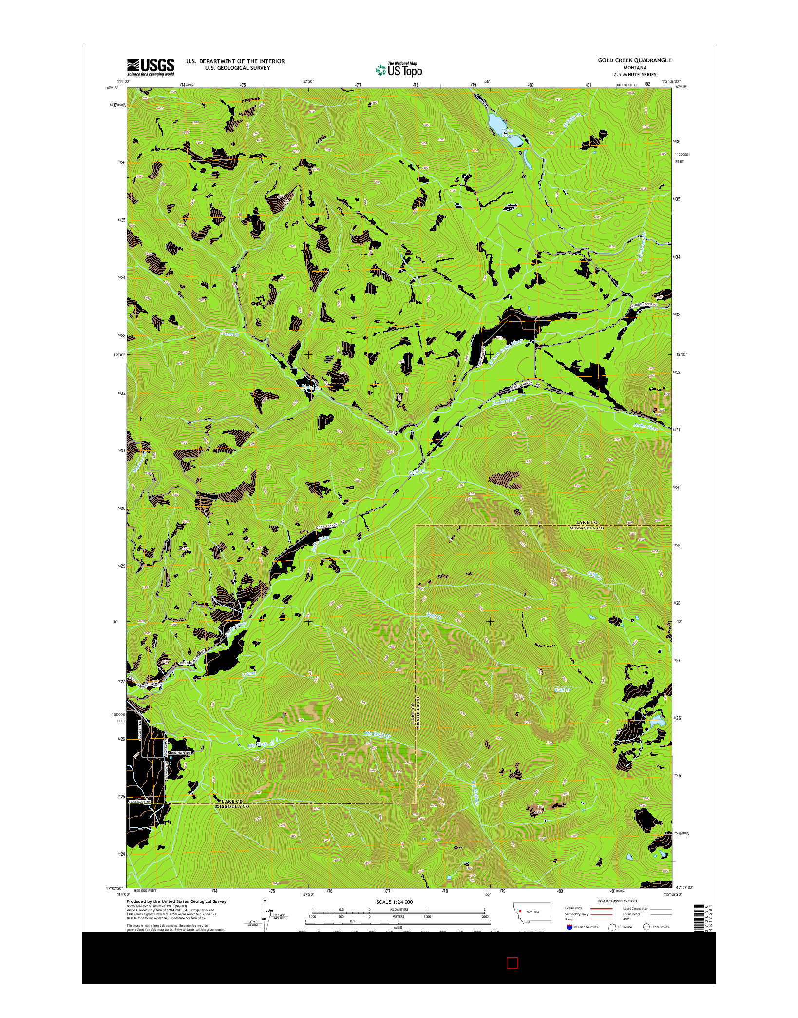 USGS US TOPO 7.5-MINUTE MAP FOR GOLD CREEK, MT 2014