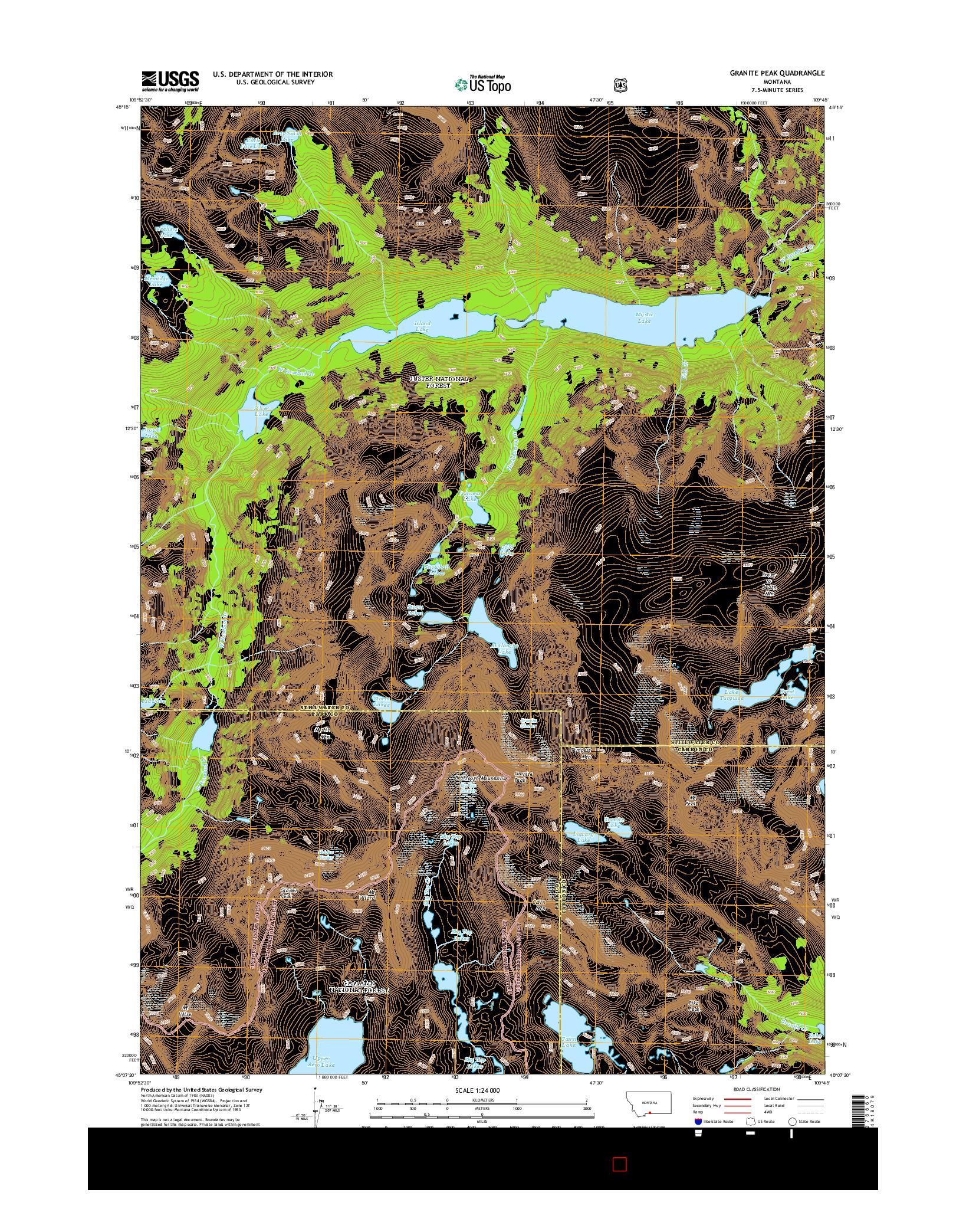 USGS US TOPO 7.5-MINUTE MAP FOR GRANITE PEAK, MT 2014