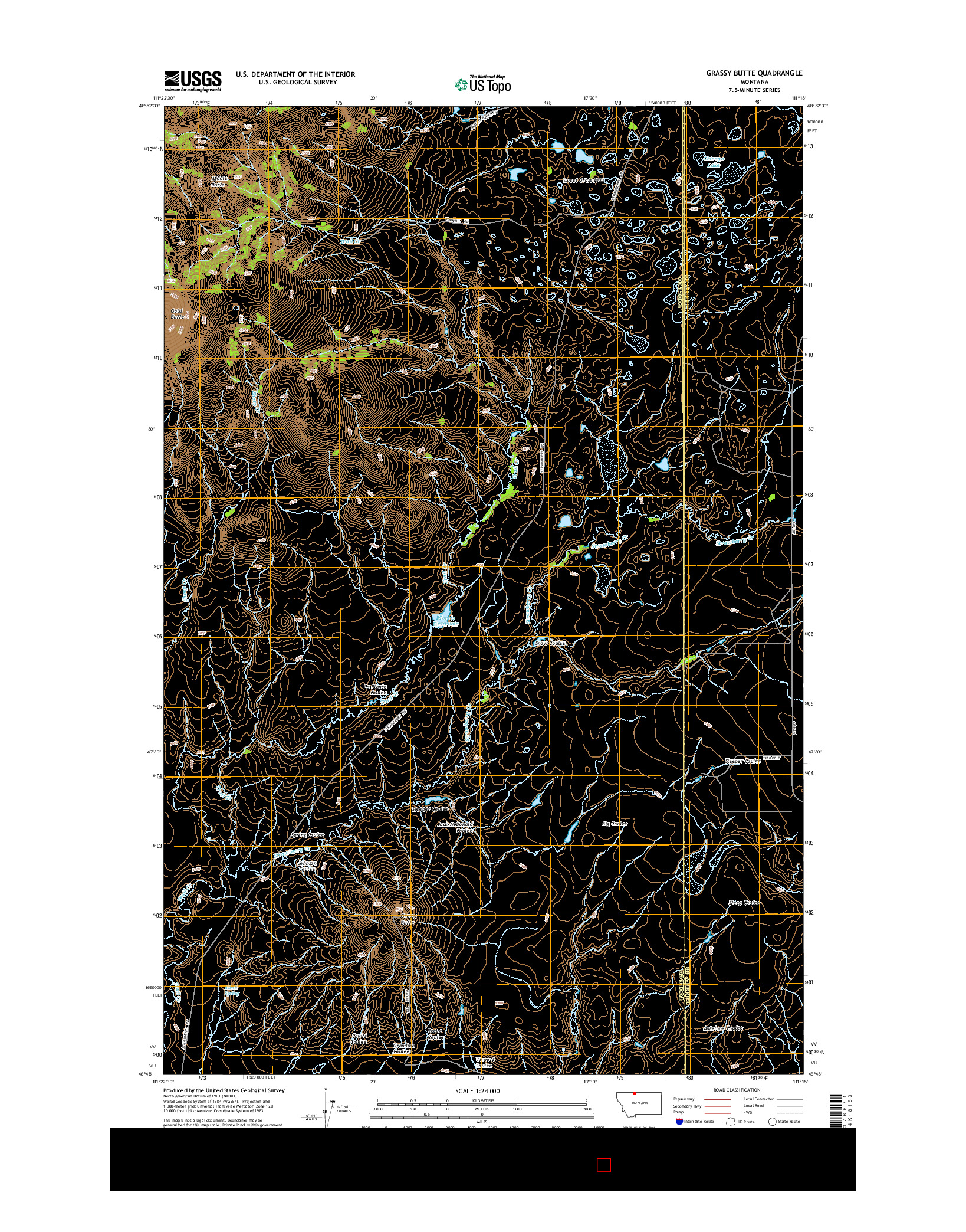 USGS US TOPO 7.5-MINUTE MAP FOR GRASSY BUTTE, MT 2014