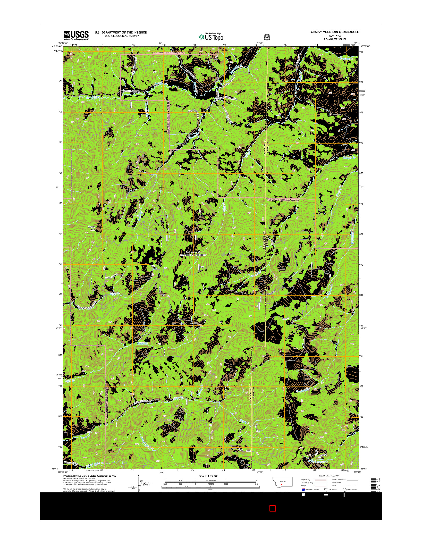 USGS US TOPO 7.5-MINUTE MAP FOR GRASSY MOUNTAIN, MT 2014