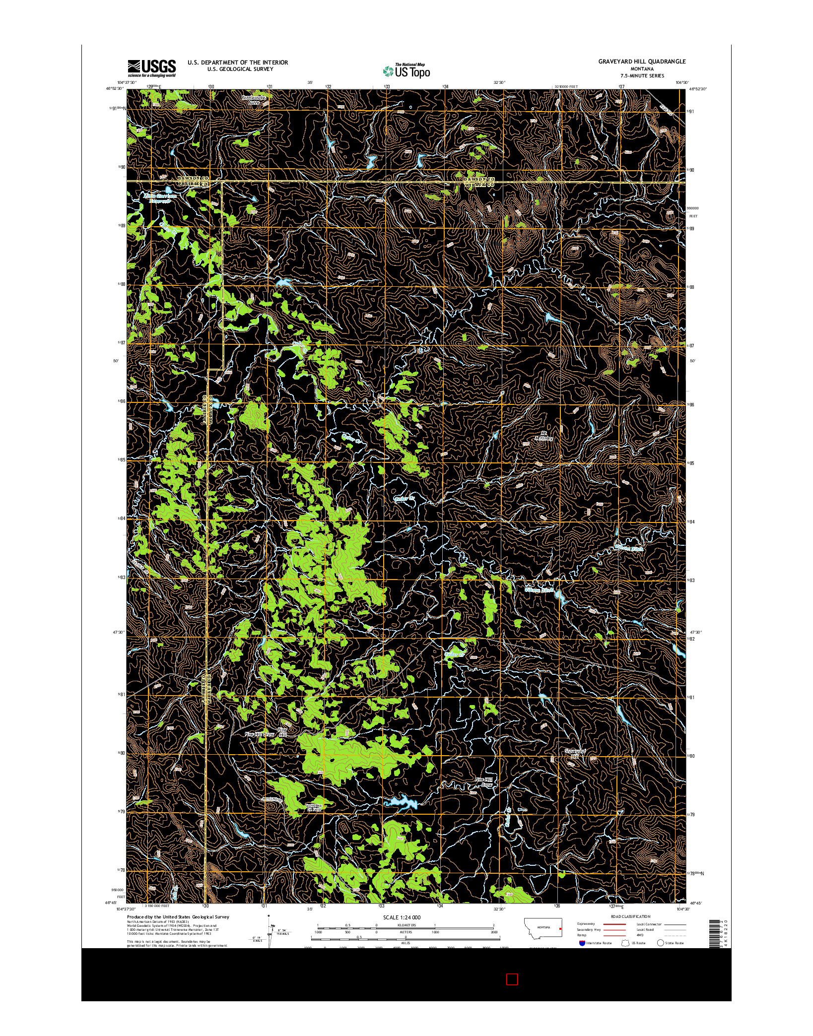 USGS US TOPO 7.5-MINUTE MAP FOR GRAVEYARD HILL, MT 2014