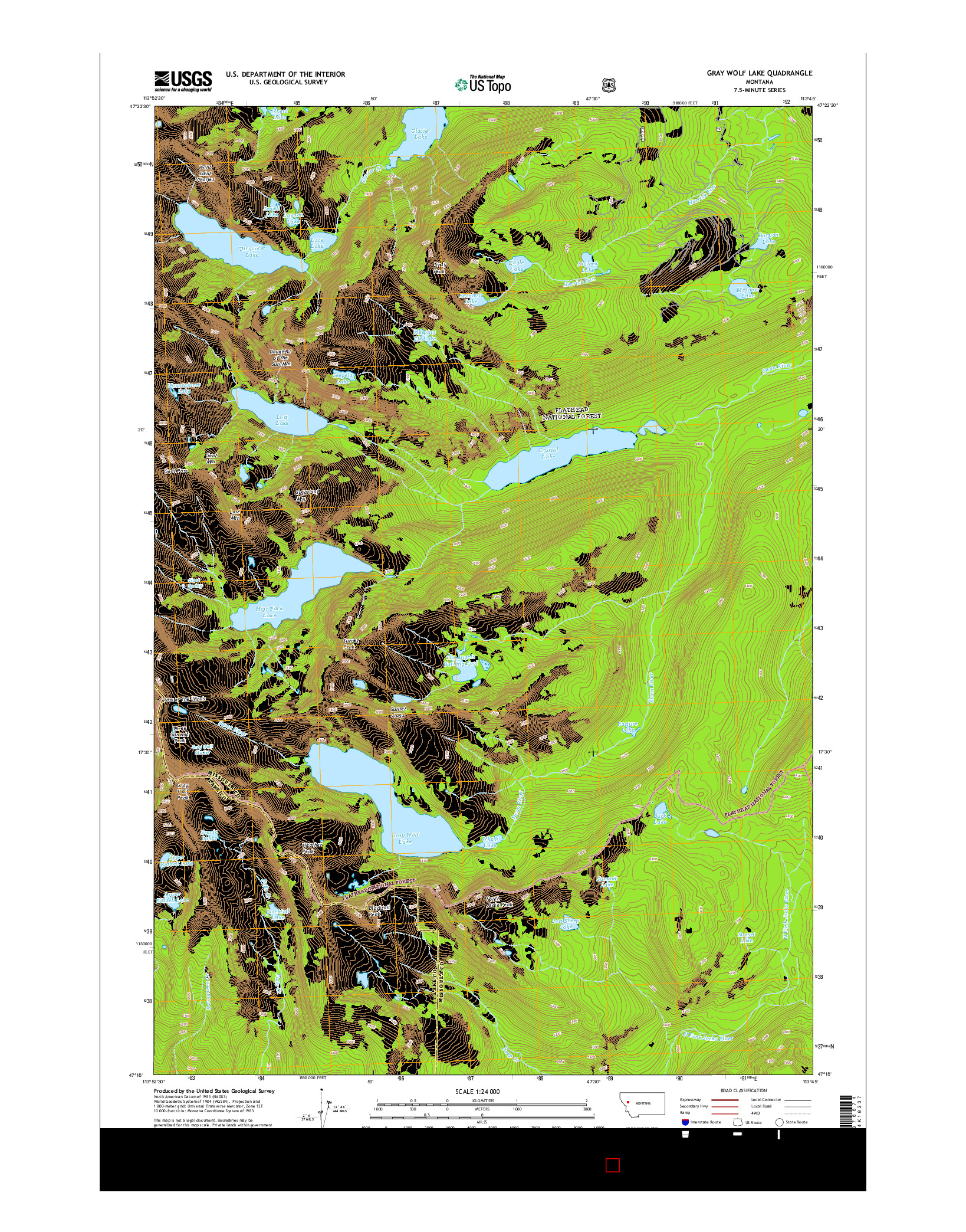 USGS US TOPO 7.5-MINUTE MAP FOR GRAY WOLF LAKE, MT 2014