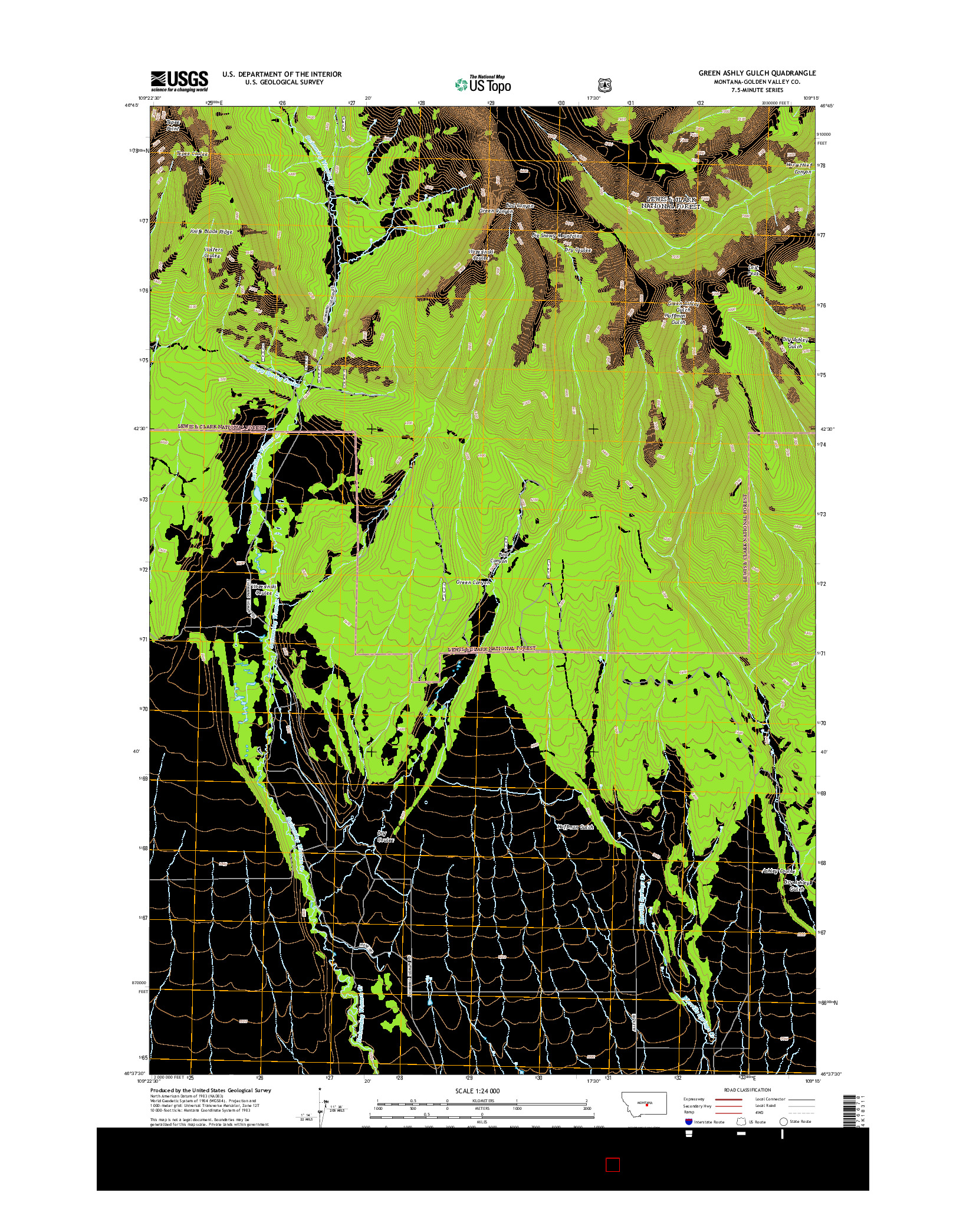 USGS US TOPO 7.5-MINUTE MAP FOR GREEN ASHLY GULCH, MT 2014