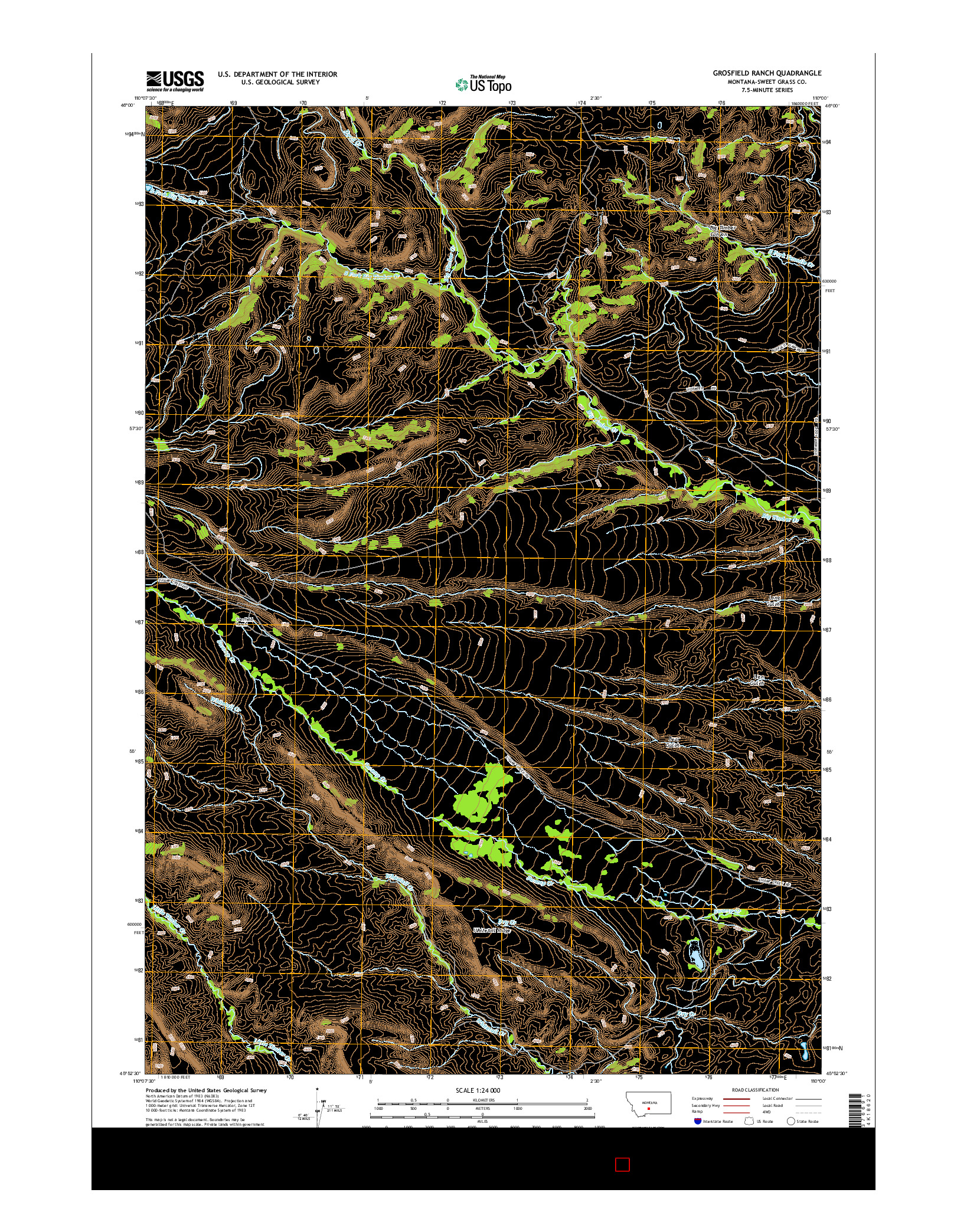 USGS US TOPO 7.5-MINUTE MAP FOR GROSFIELD RANCH, MT 2014