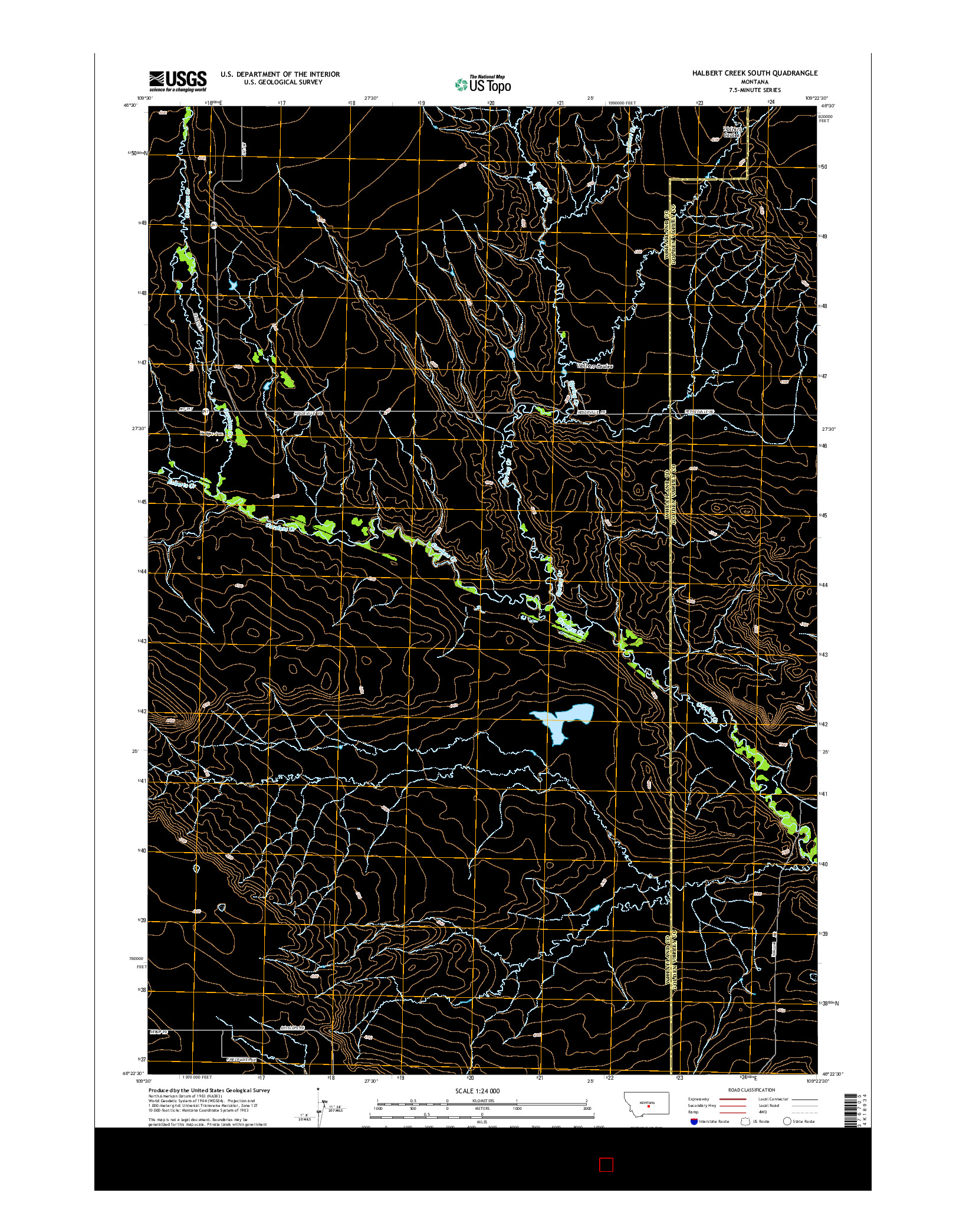 USGS US TOPO 7.5-MINUTE MAP FOR HALBERT CREEK SOUTH, MT 2014