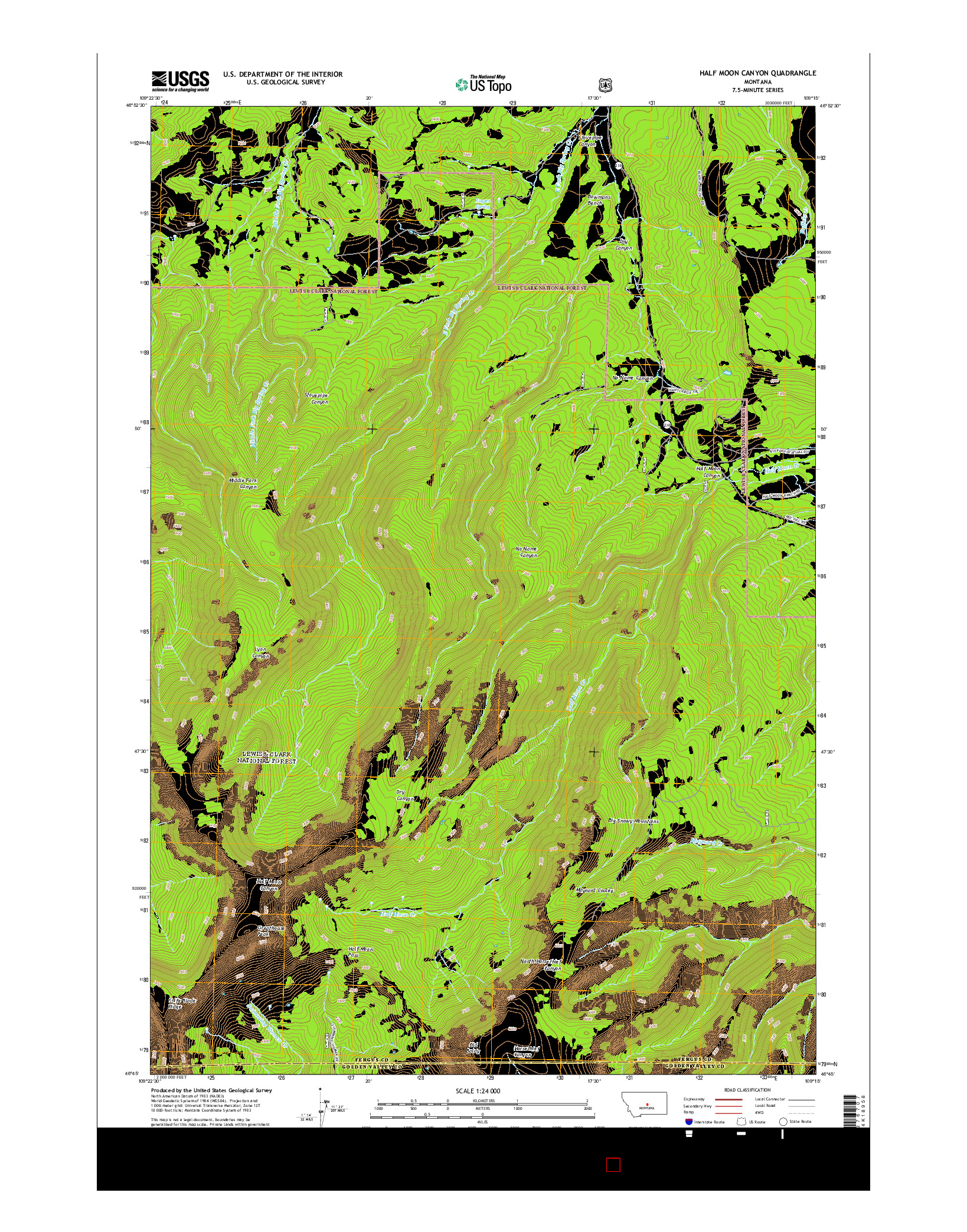 USGS US TOPO 7.5-MINUTE MAP FOR HALF MOON CANYON, MT 2014