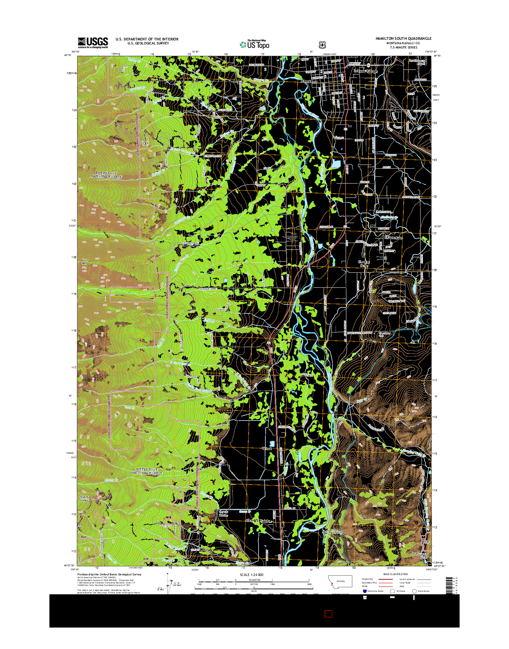 USGS US TOPO 7.5-MINUTE MAP FOR HAMILTON SOUTH, MT 2014