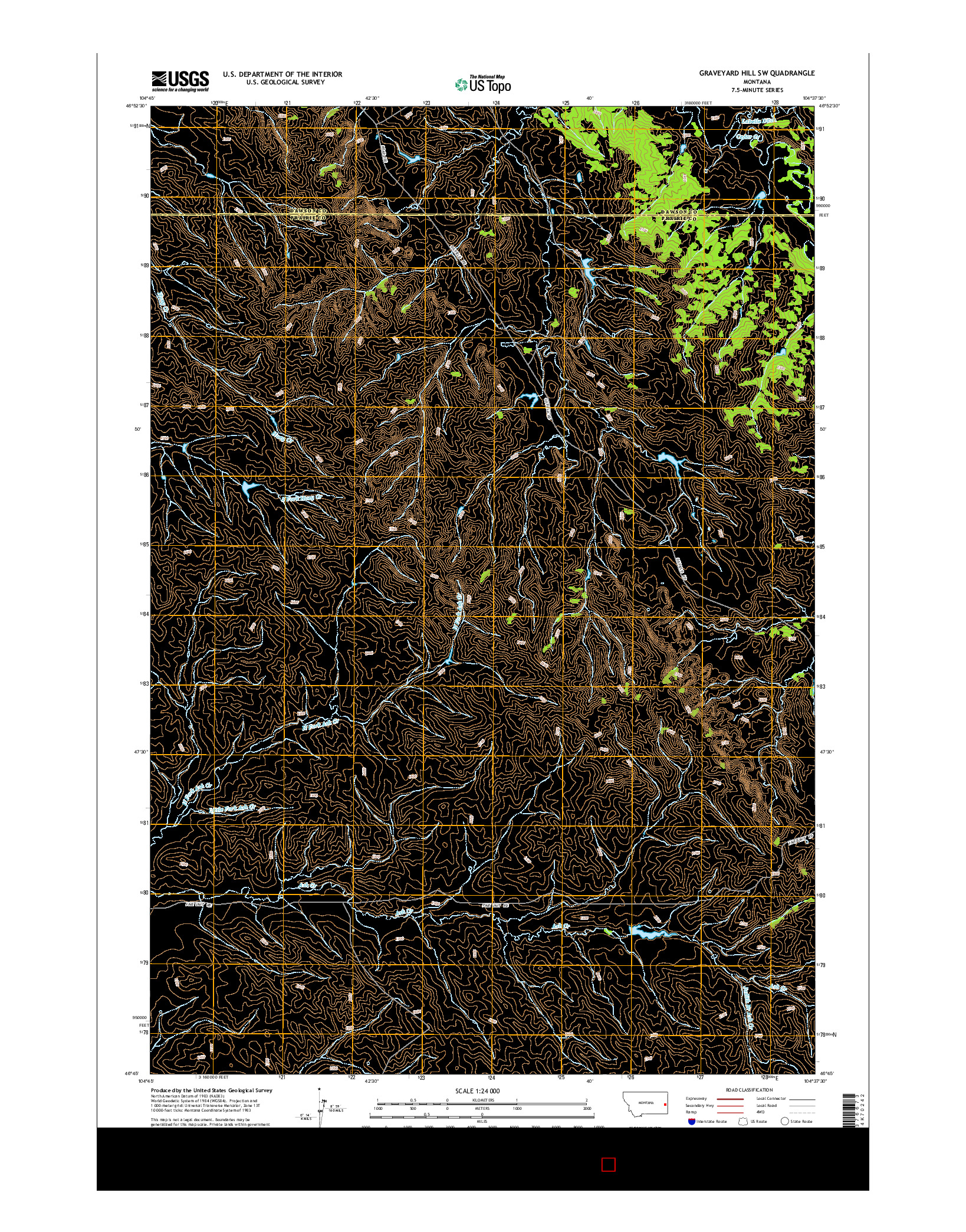 USGS US TOPO 7.5-MINUTE MAP FOR GRAVEYARD HILL SW, MT 2014