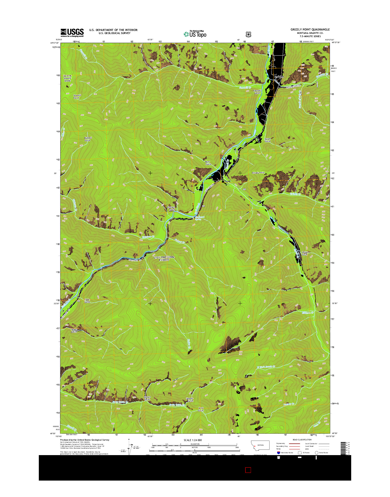 USGS US TOPO 7.5-MINUTE MAP FOR GRIZZLY POINT, MT 2014