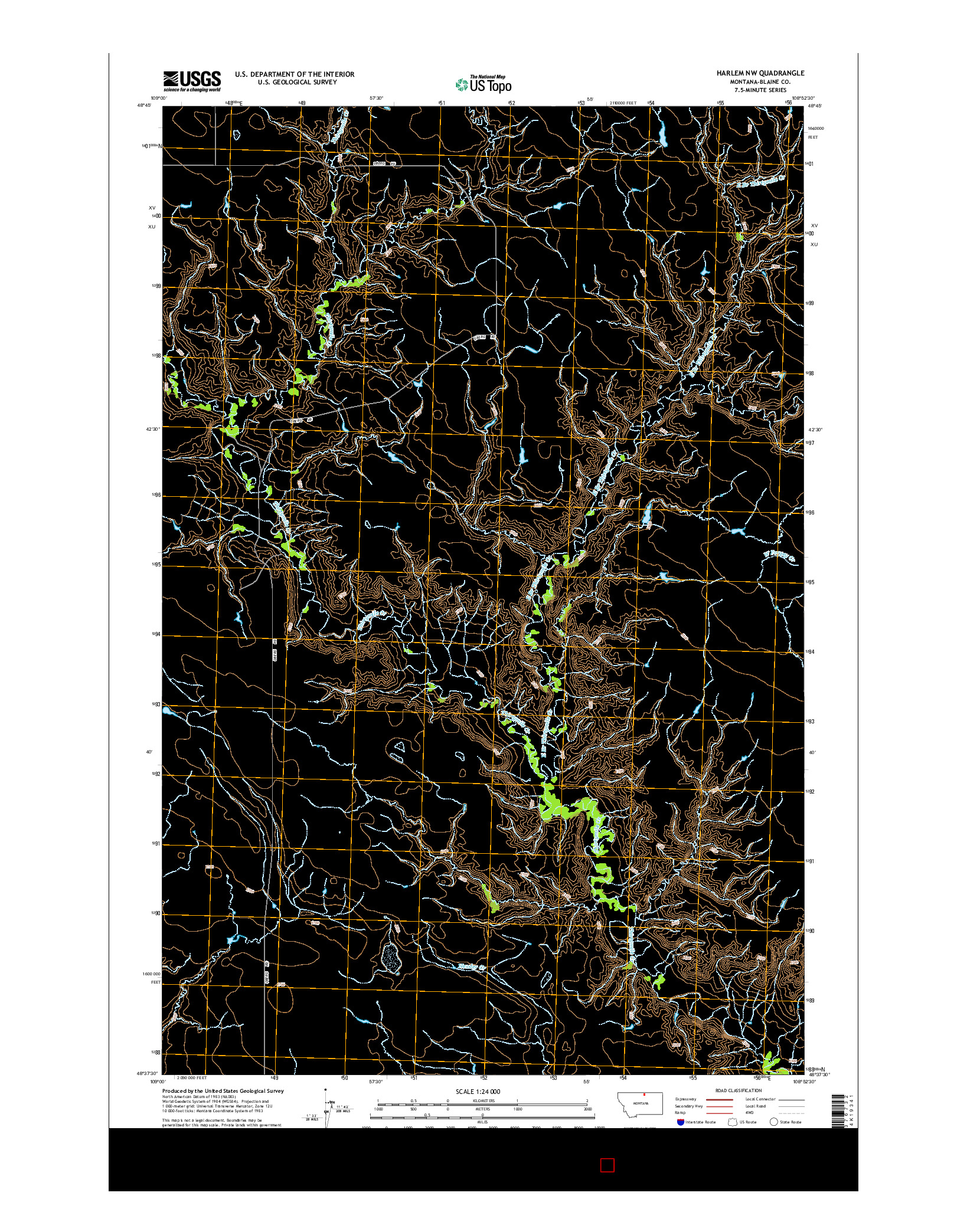 USGS US TOPO 7.5-MINUTE MAP FOR HARLEM NW, MT 2014