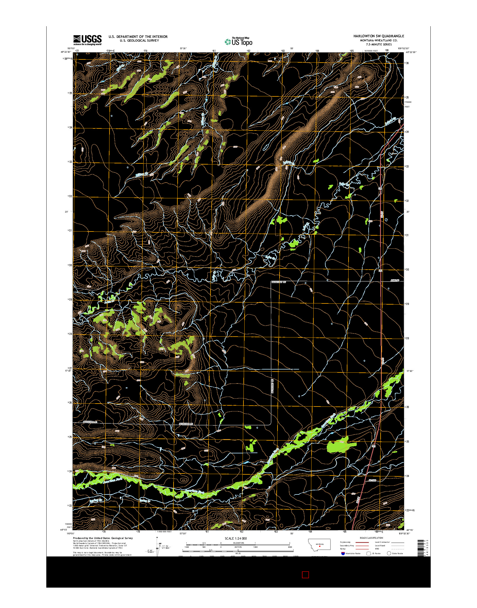 USGS US TOPO 7.5-MINUTE MAP FOR HARLOWTON SW, MT 2014