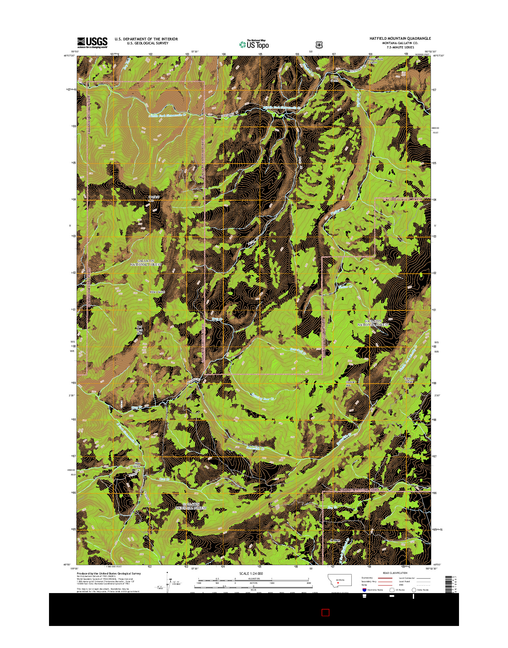 USGS US TOPO 7.5-MINUTE MAP FOR HATFIELD MOUNTAIN, MT 2014