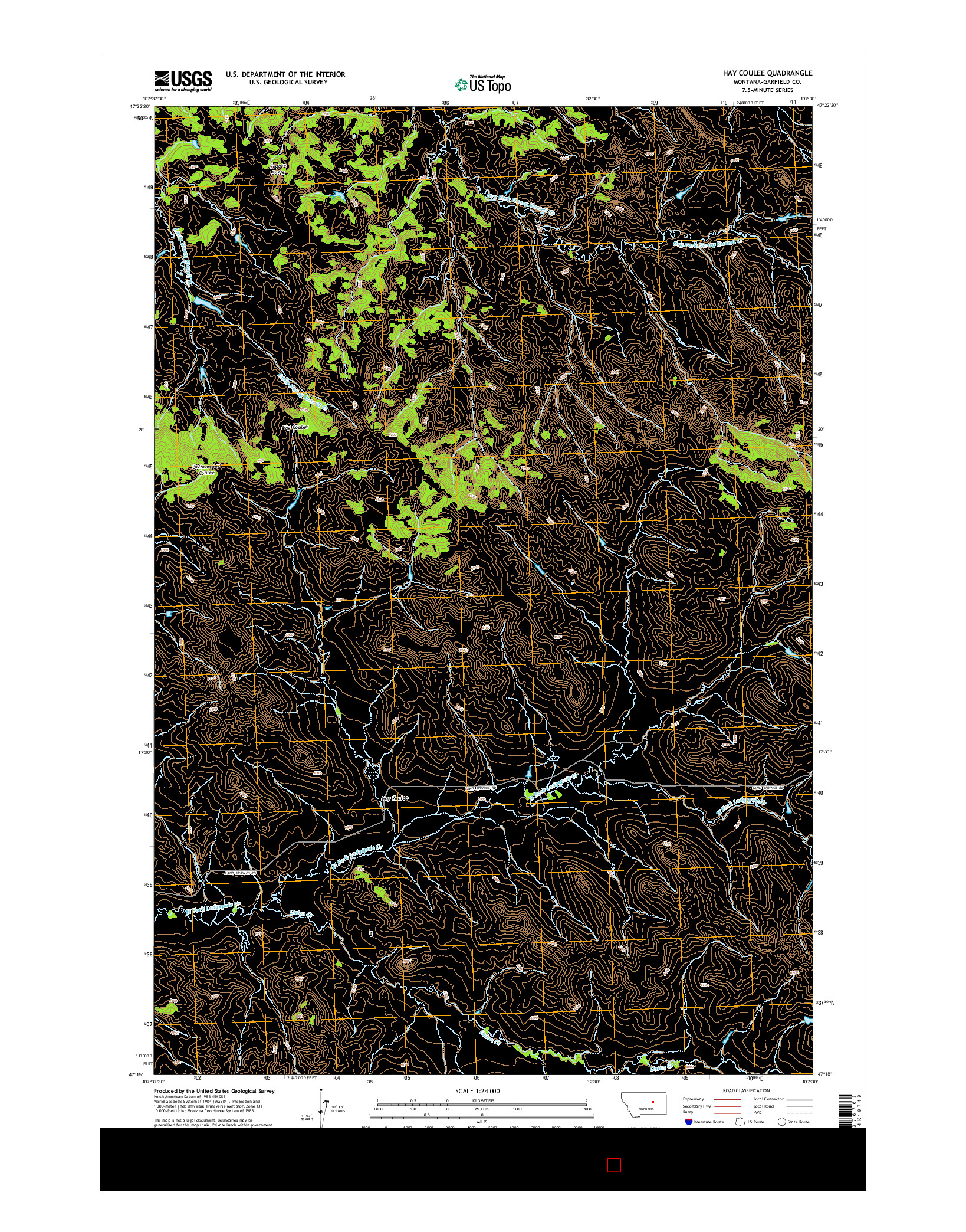 USGS US TOPO 7.5-MINUTE MAP FOR HAY COULEE, MT 2014