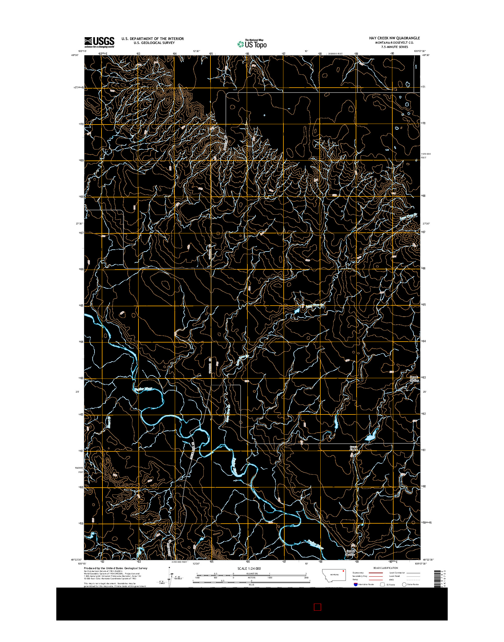 USGS US TOPO 7.5-MINUTE MAP FOR HAY CREEK NW, MT 2014