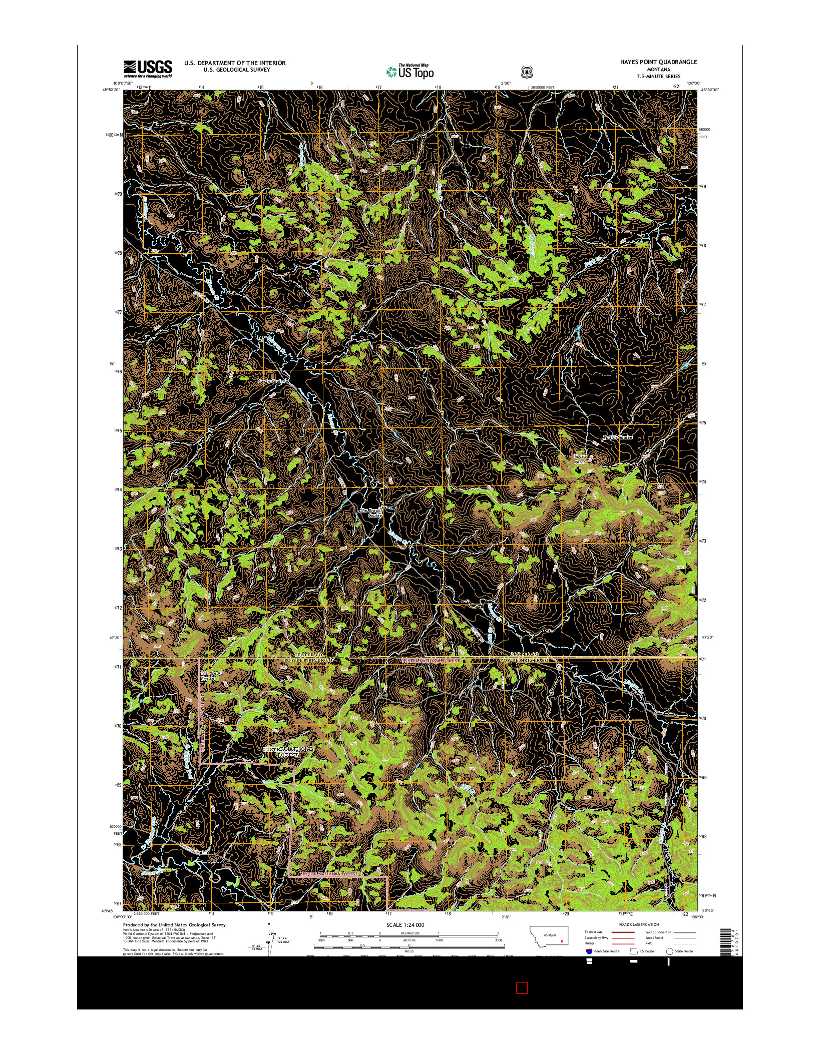 USGS US TOPO 7.5-MINUTE MAP FOR HAYES POINT, MT 2014