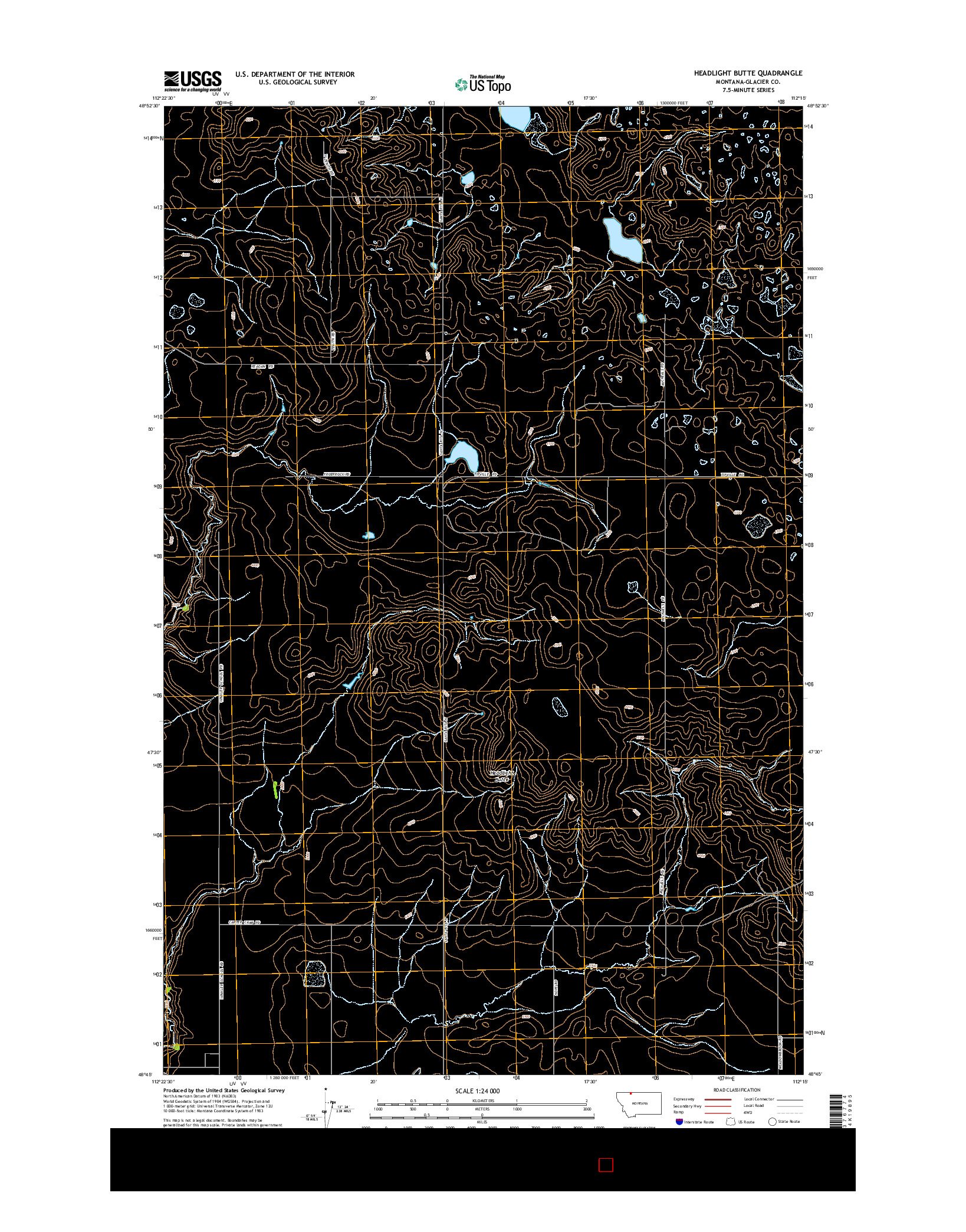 USGS US TOPO 7.5-MINUTE MAP FOR HEADLIGHT BUTTE, MT 2014