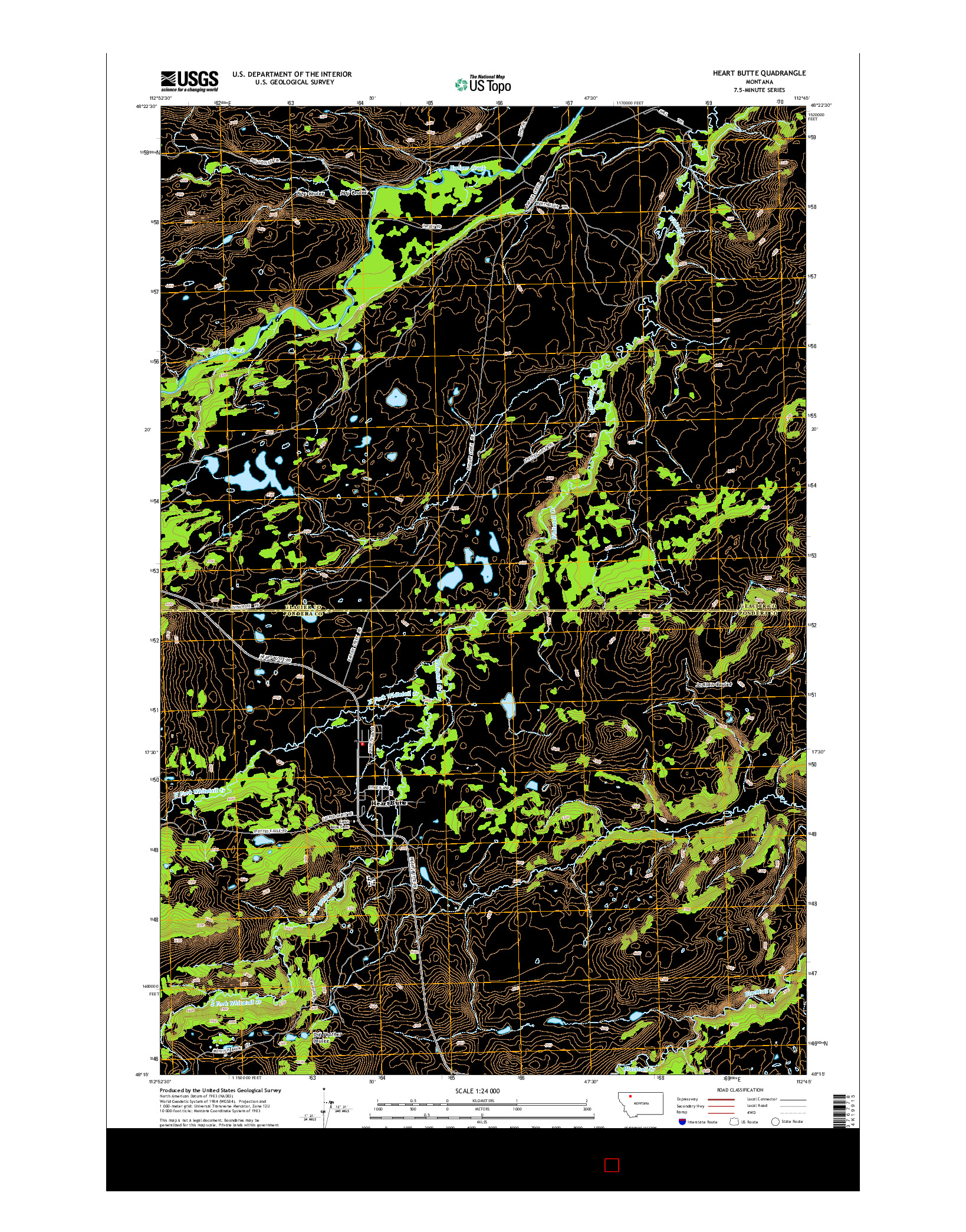 USGS US TOPO 7.5-MINUTE MAP FOR HEART BUTTE, MT 2014