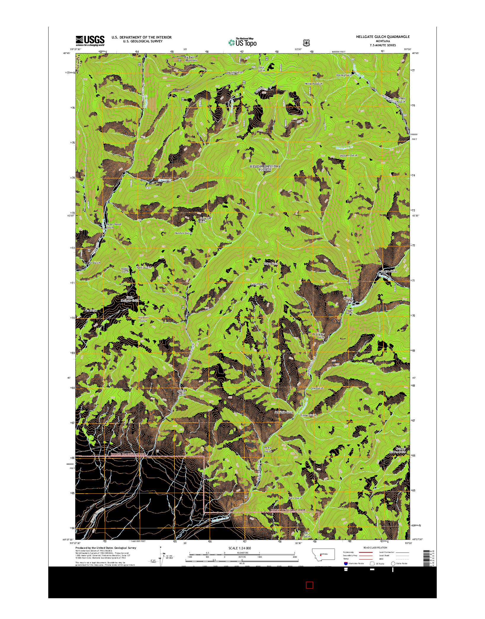 USGS US TOPO 7.5-MINUTE MAP FOR HELLGATE GULCH, MT 2014