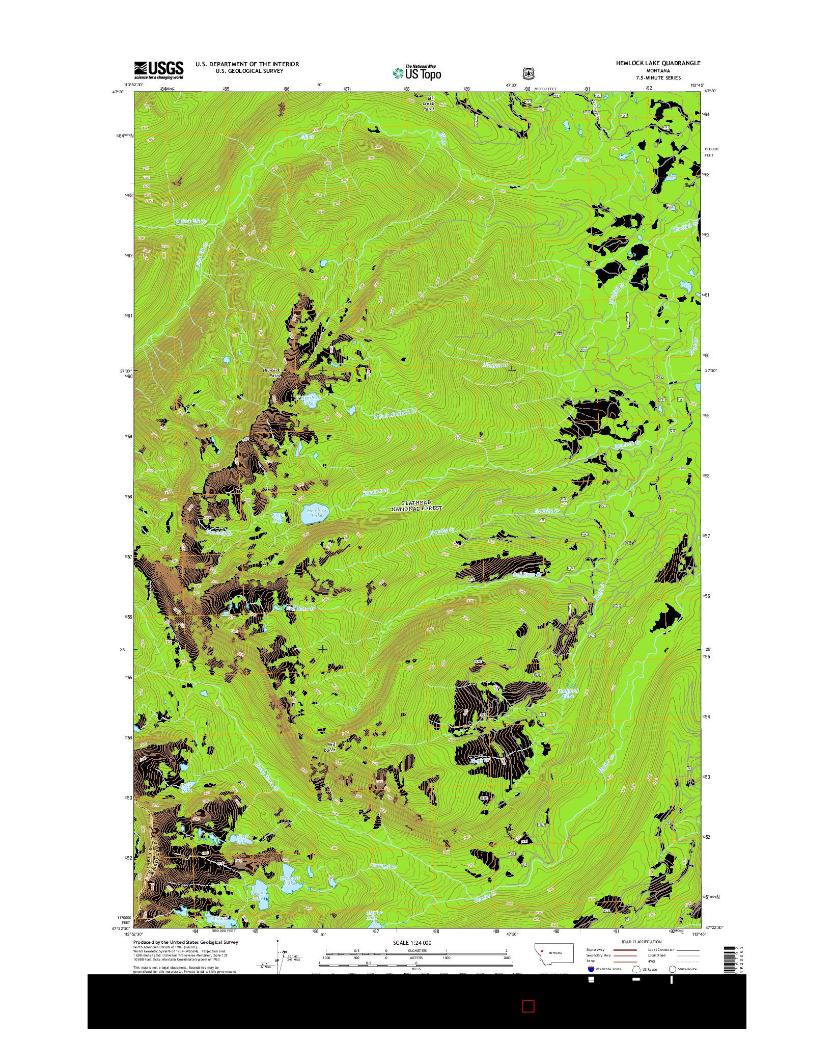 USGS US TOPO 7.5-MINUTE MAP FOR HEMLOCK LAKE, MT 2014