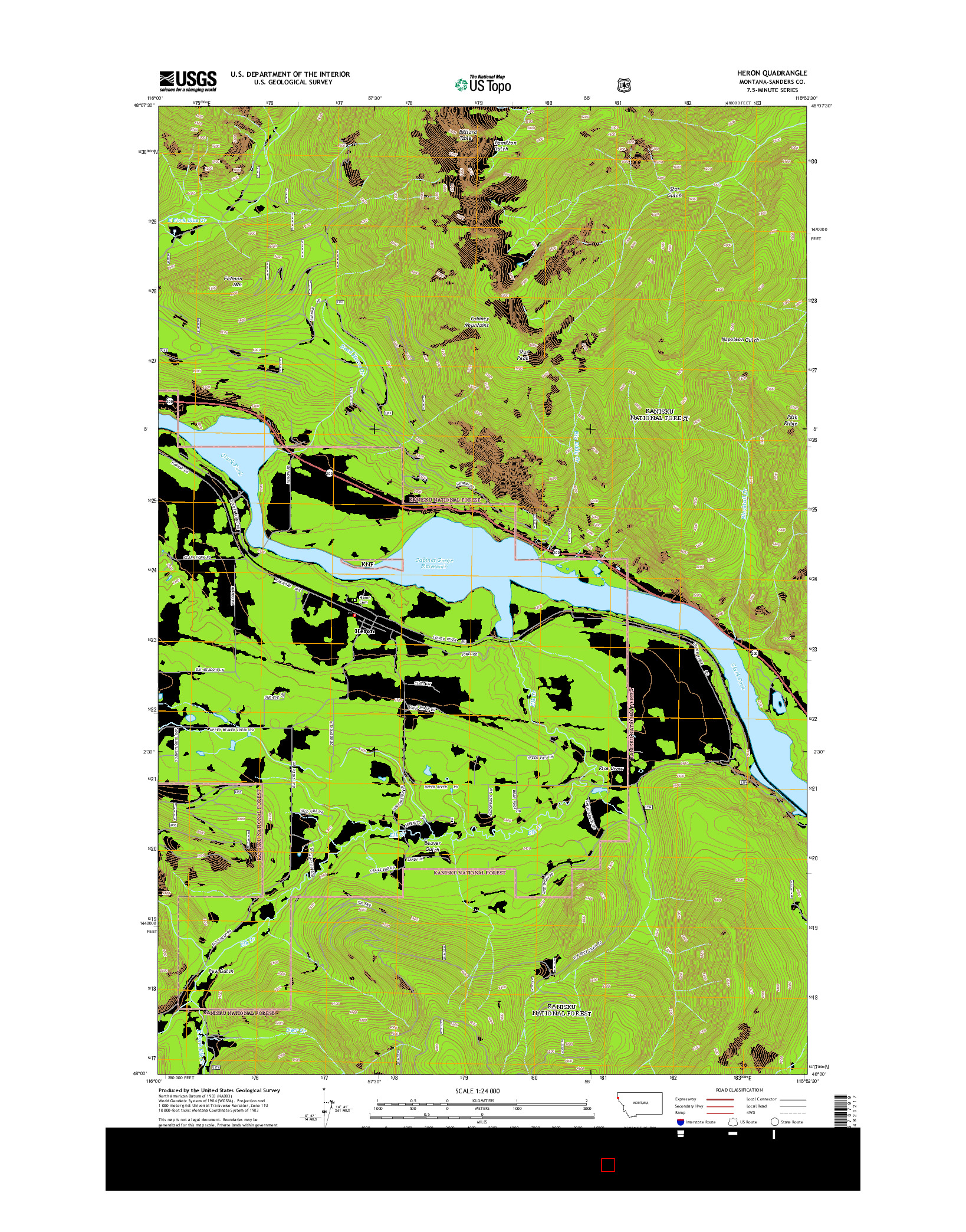 USGS US TOPO 7.5-MINUTE MAP FOR HERON, MT 2014