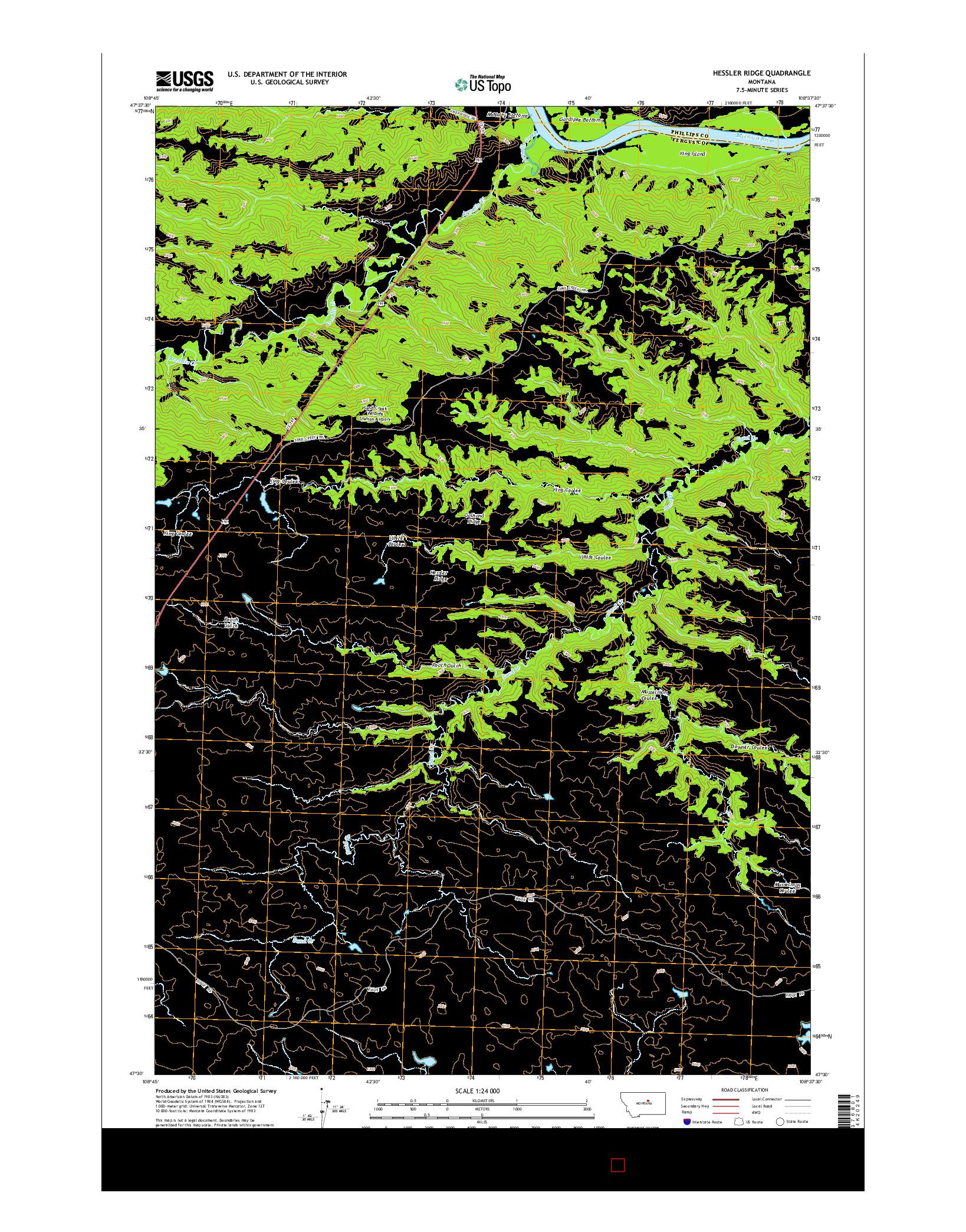USGS US TOPO 7.5-MINUTE MAP FOR HESSLER RIDGE, MT 2014