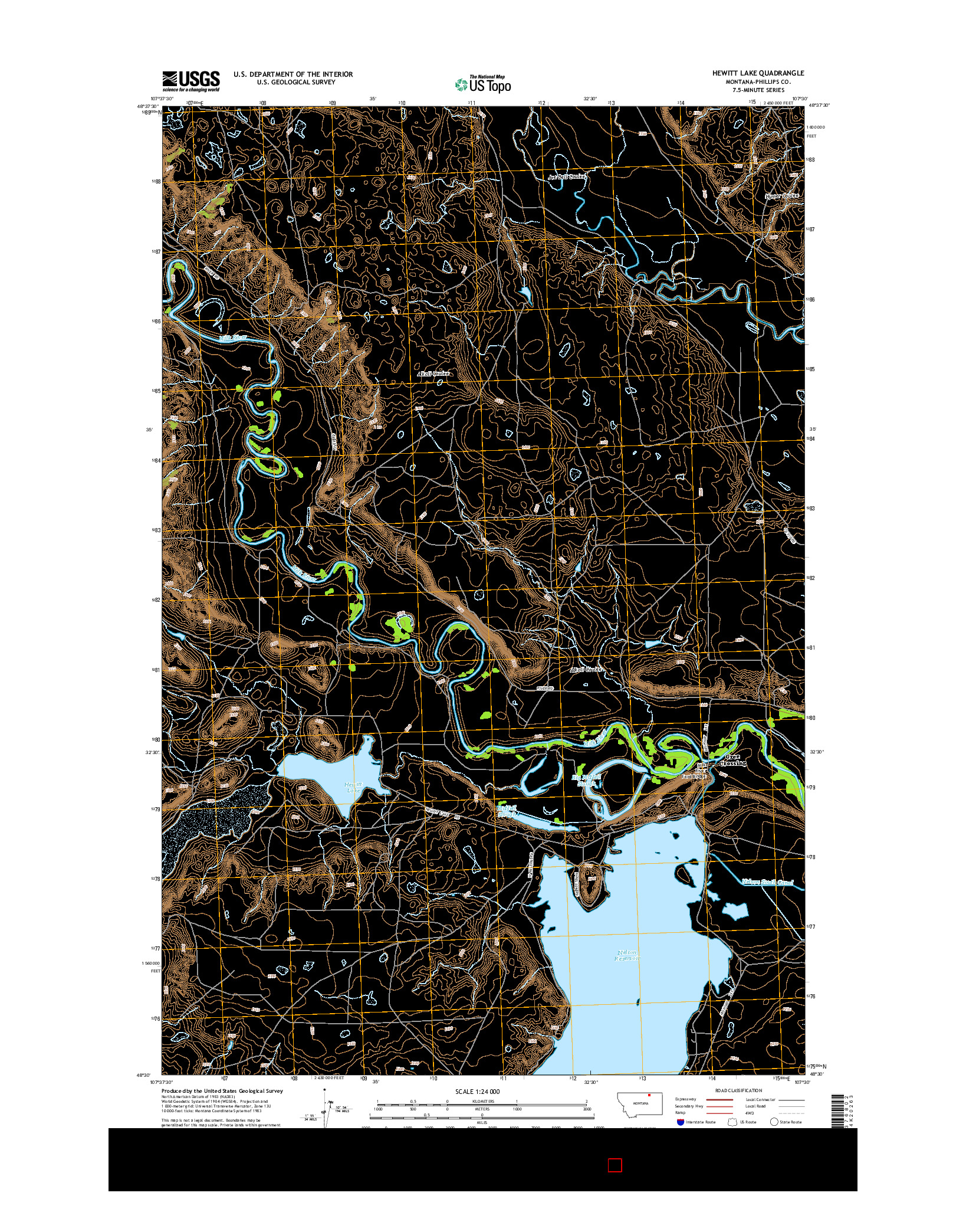USGS US TOPO 7.5-MINUTE MAP FOR HEWITT LAKE, MT 2014