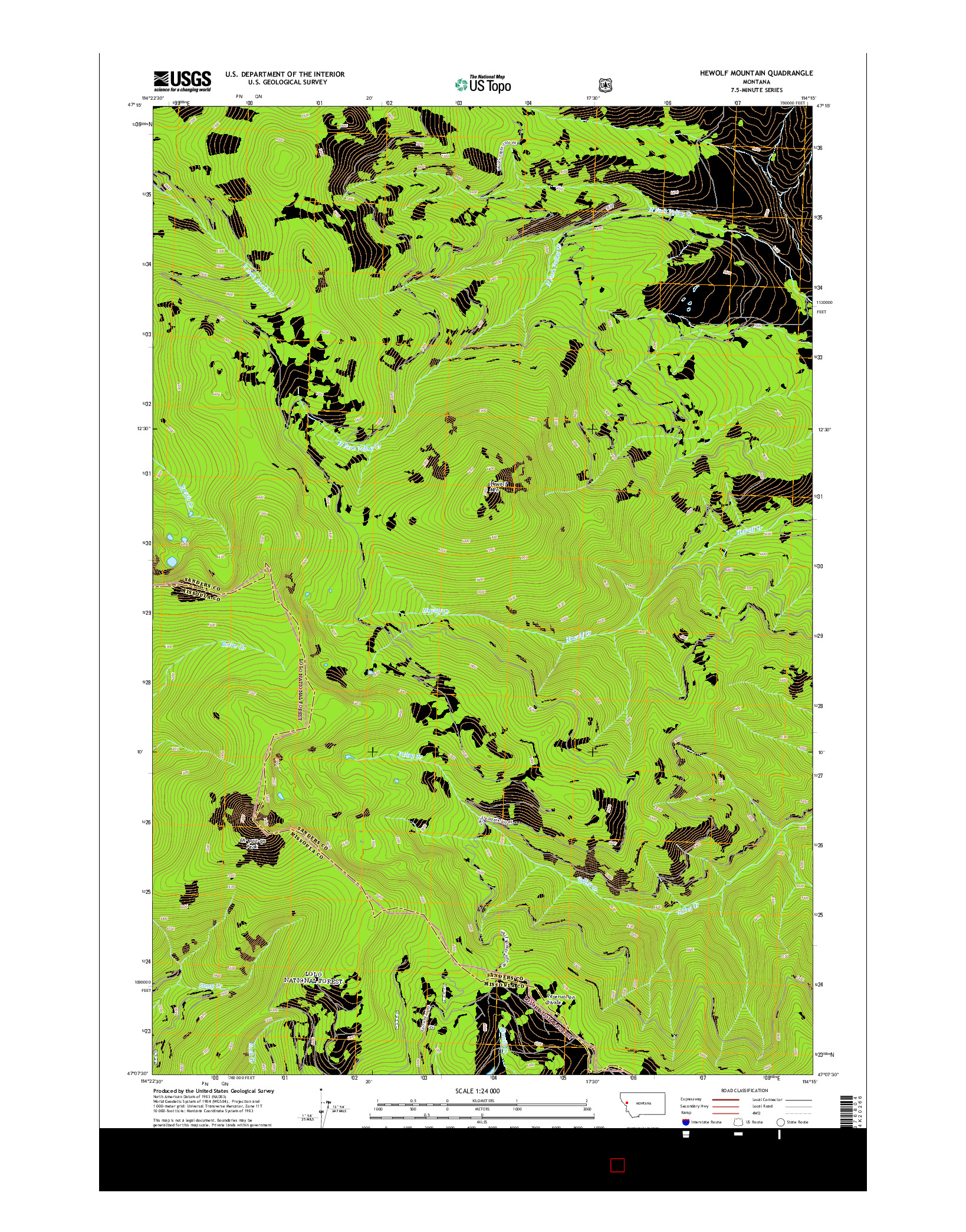 USGS US TOPO 7.5-MINUTE MAP FOR HEWOLF MOUNTAIN, MT 2014