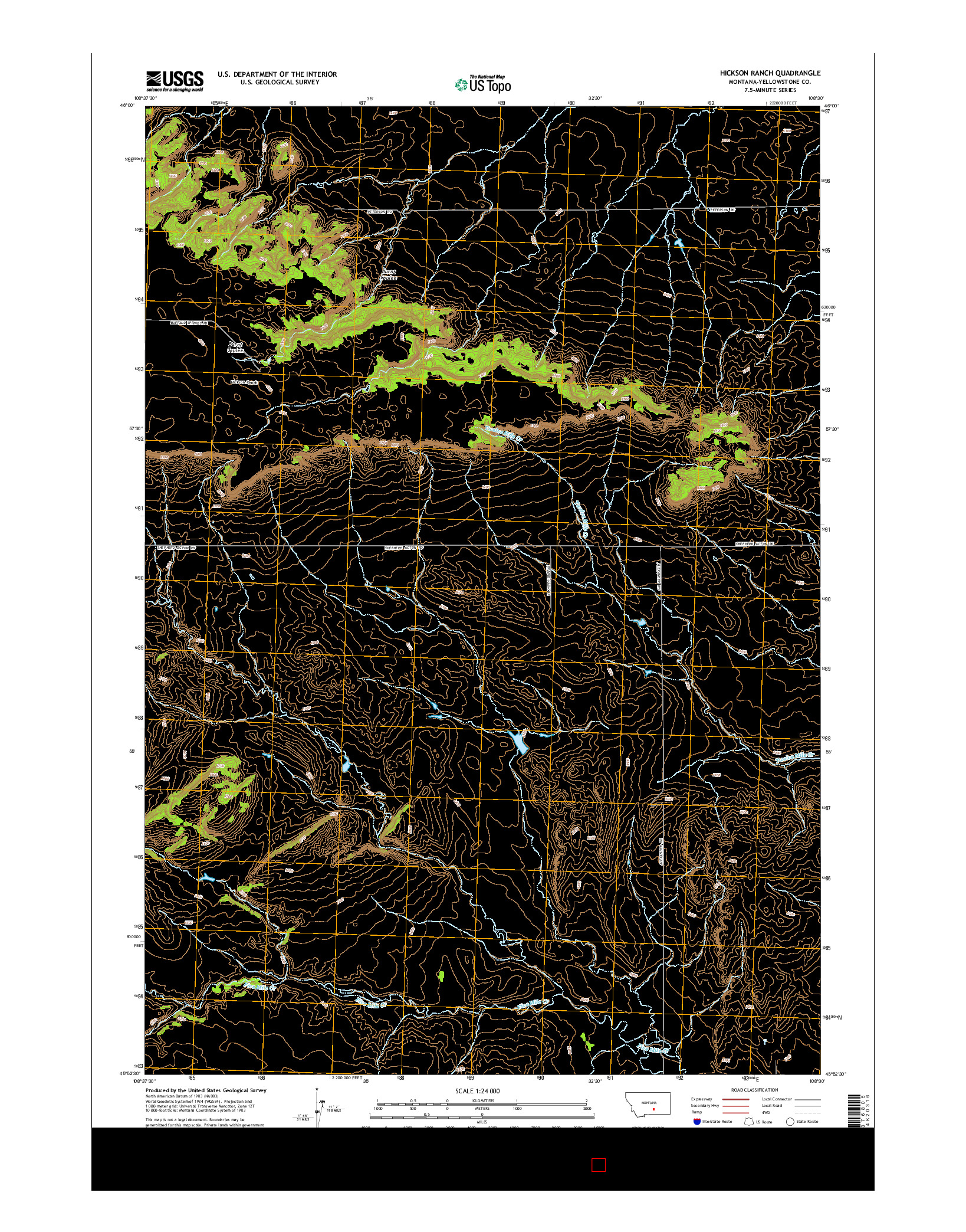 USGS US TOPO 7.5-MINUTE MAP FOR HICKSON RANCH, MT 2014