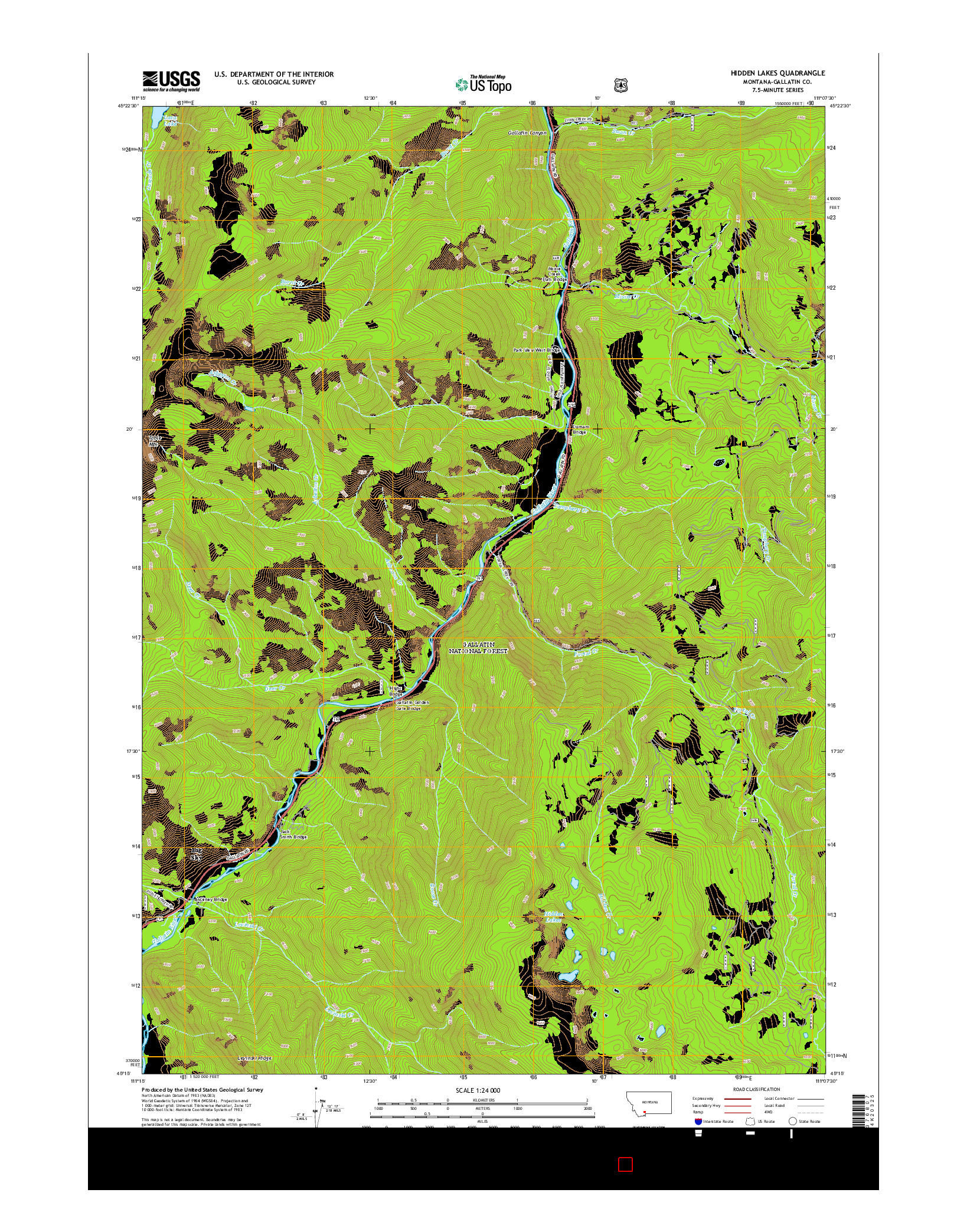 USGS US TOPO 7.5-MINUTE MAP FOR HIDDEN LAKES, MT 2014