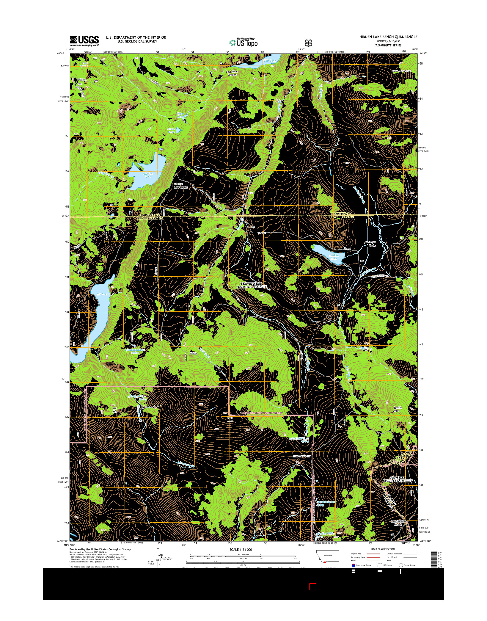 USGS US TOPO 7.5-MINUTE MAP FOR HIDDEN LAKE BENCH, MT-ID 2014