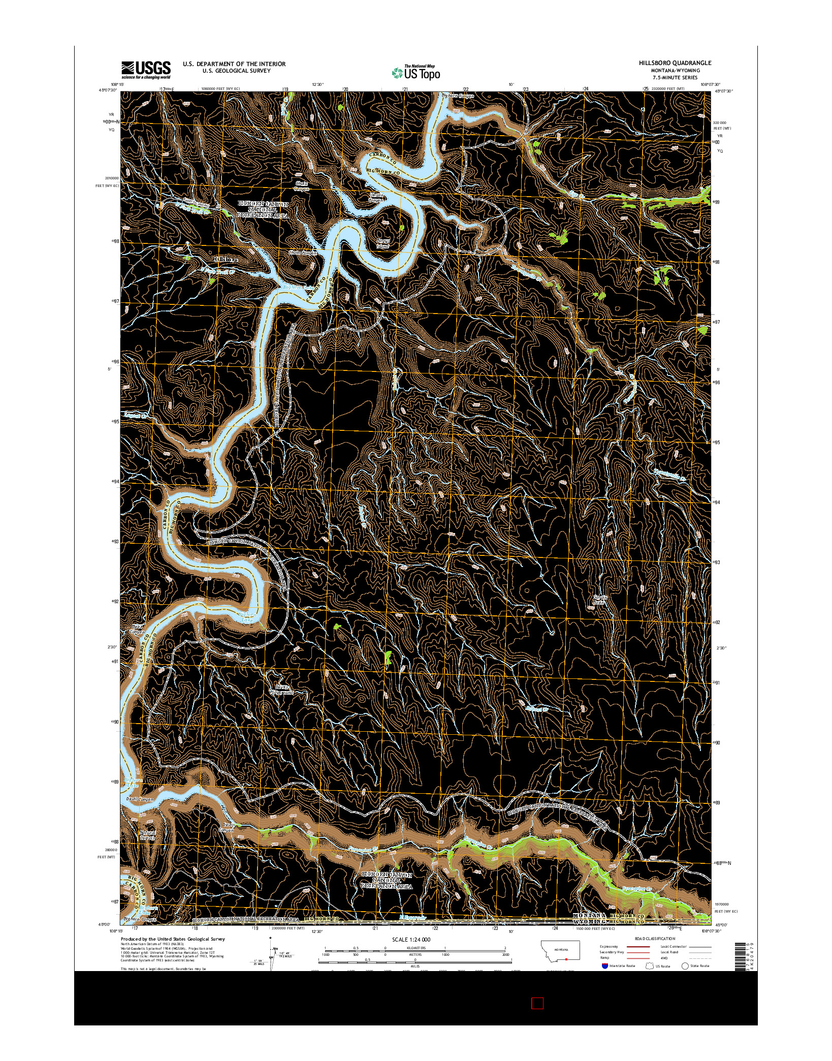 USGS US TOPO 7.5-MINUTE MAP FOR HILLSBORO, MT-WY 2014